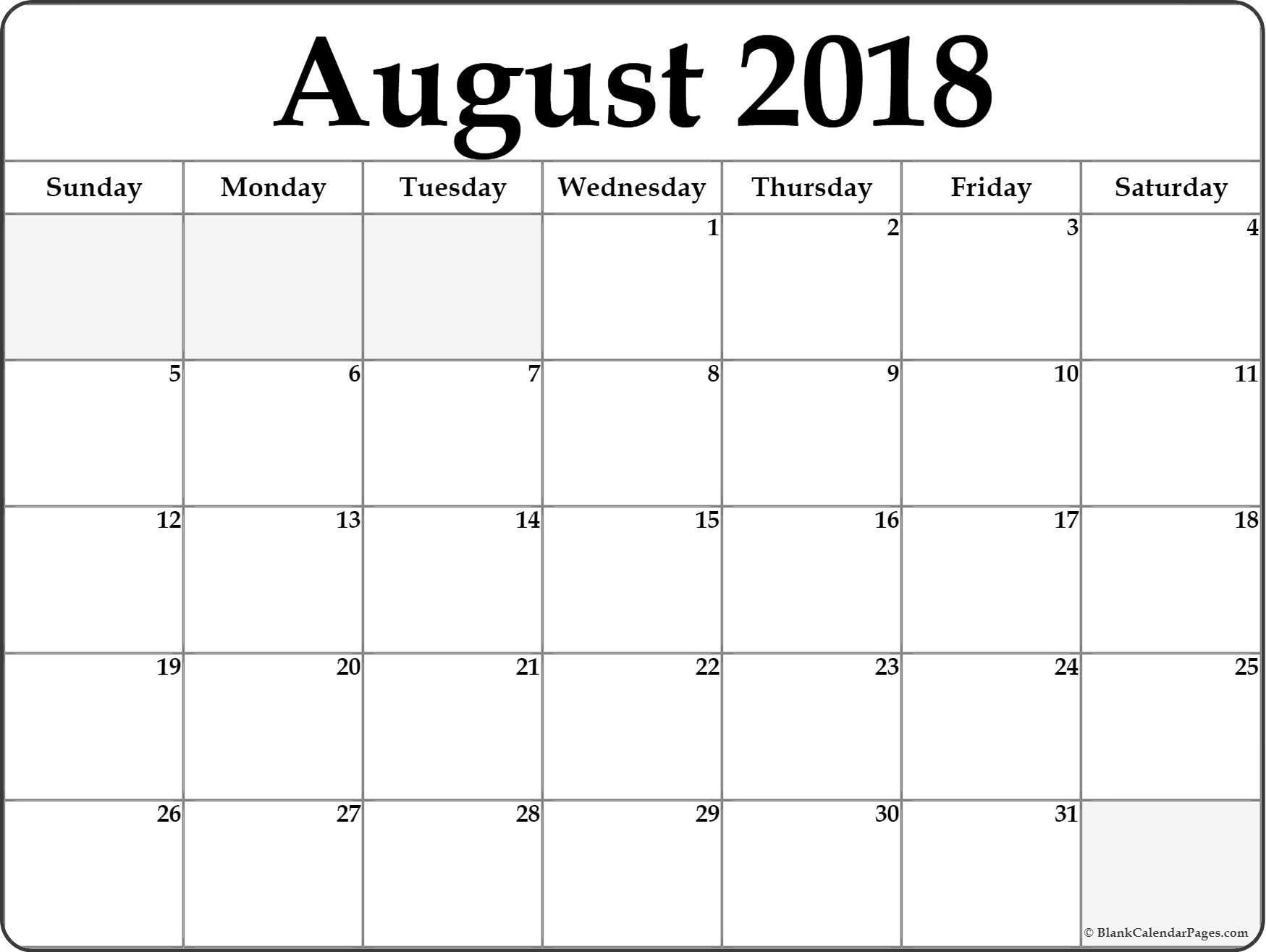 August 2018 Free Printable Blank Calendar Collection Free Full Page Printable August 2018 Calendar