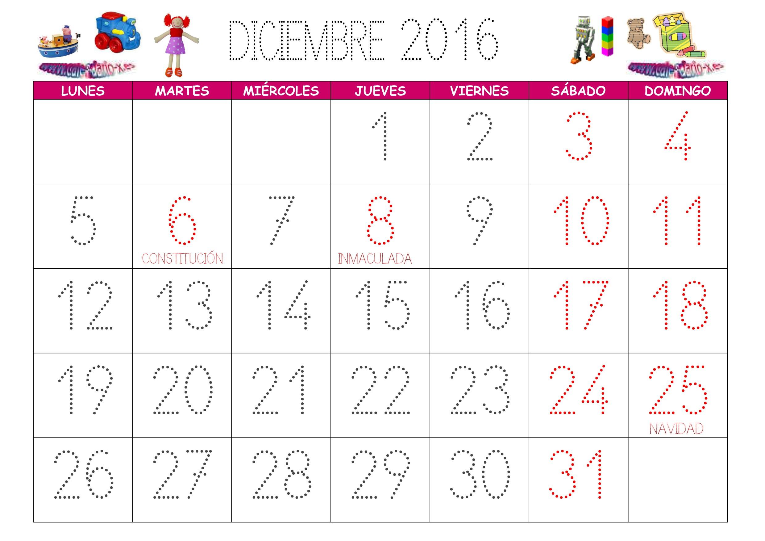 Descargar calendario infantil Diciembre 2016 en archivo png