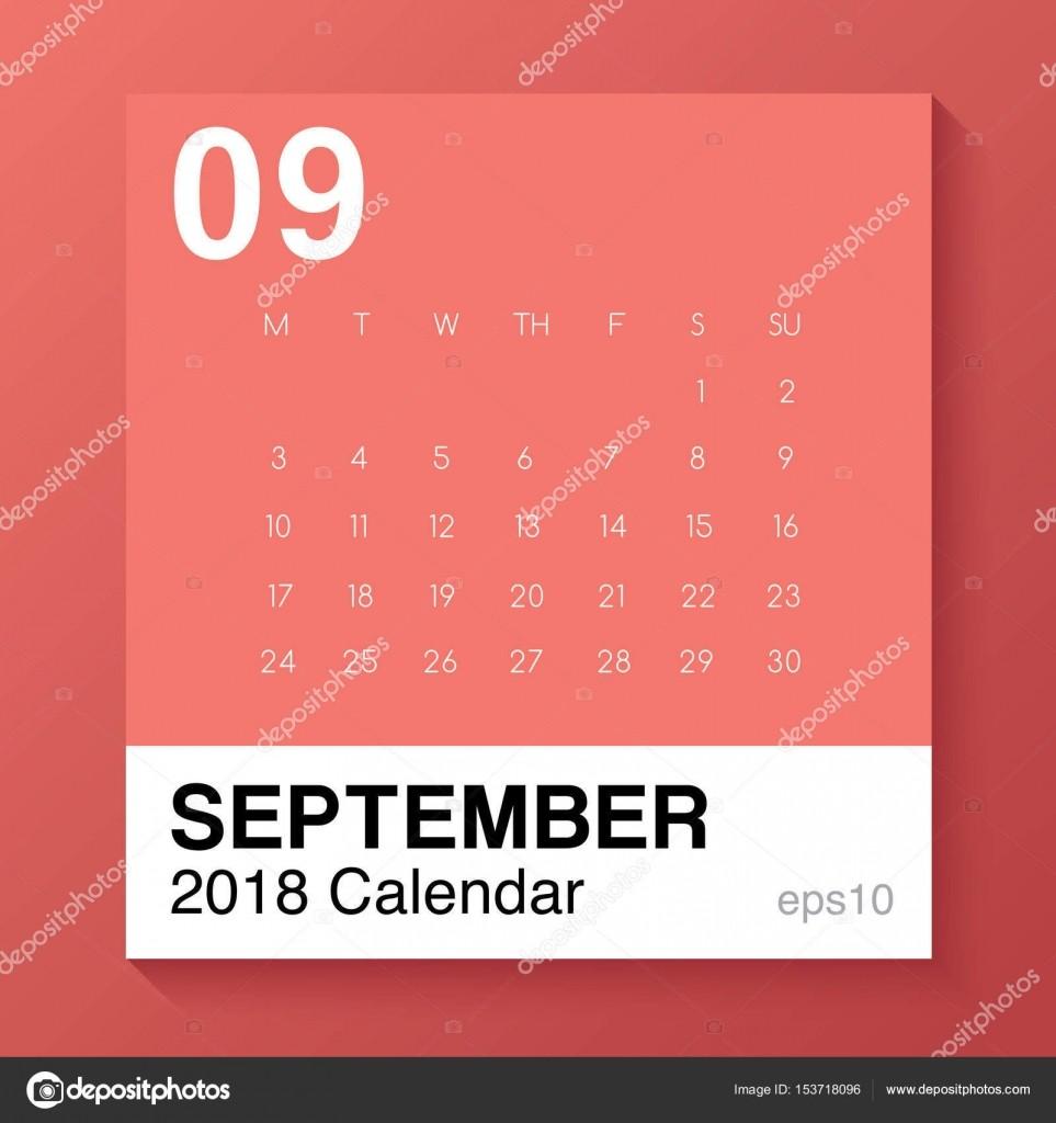 Setembro Modelo simples para 2018 calendário Vector Illustration — Vetor de Stock