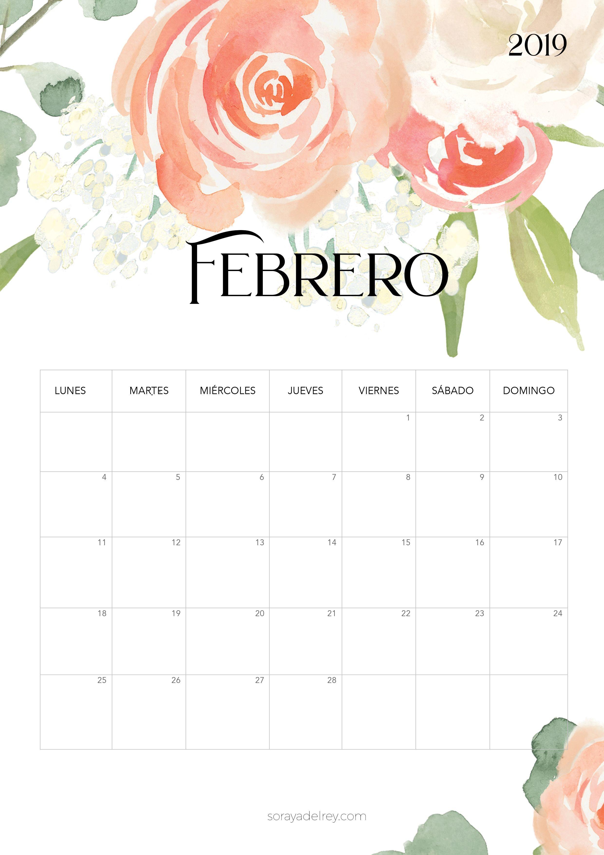 Calendario para imprimir Febrero 2019 calendario calendar febrero february freebie