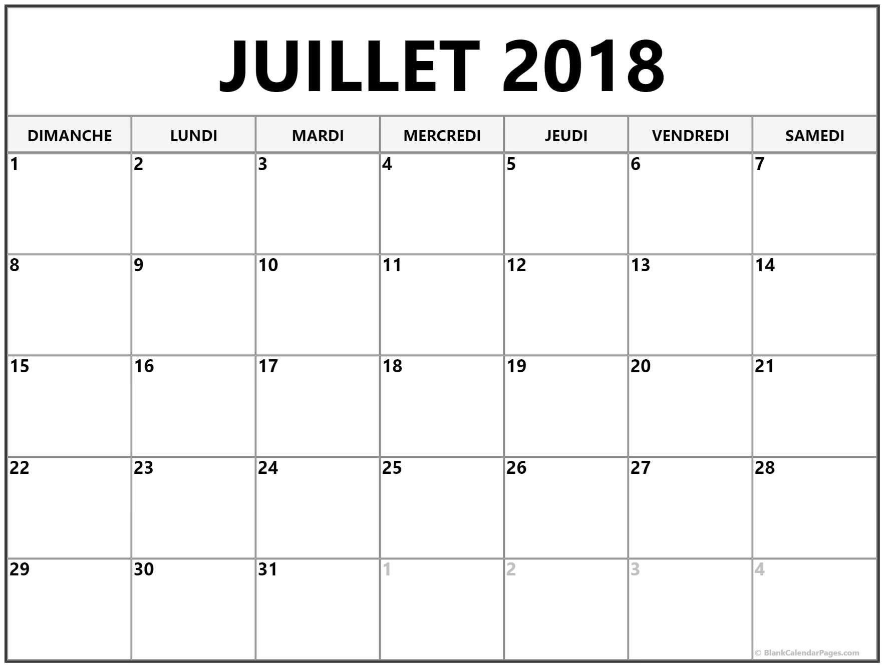Juillet 2018 calendrier imprimable gratuit