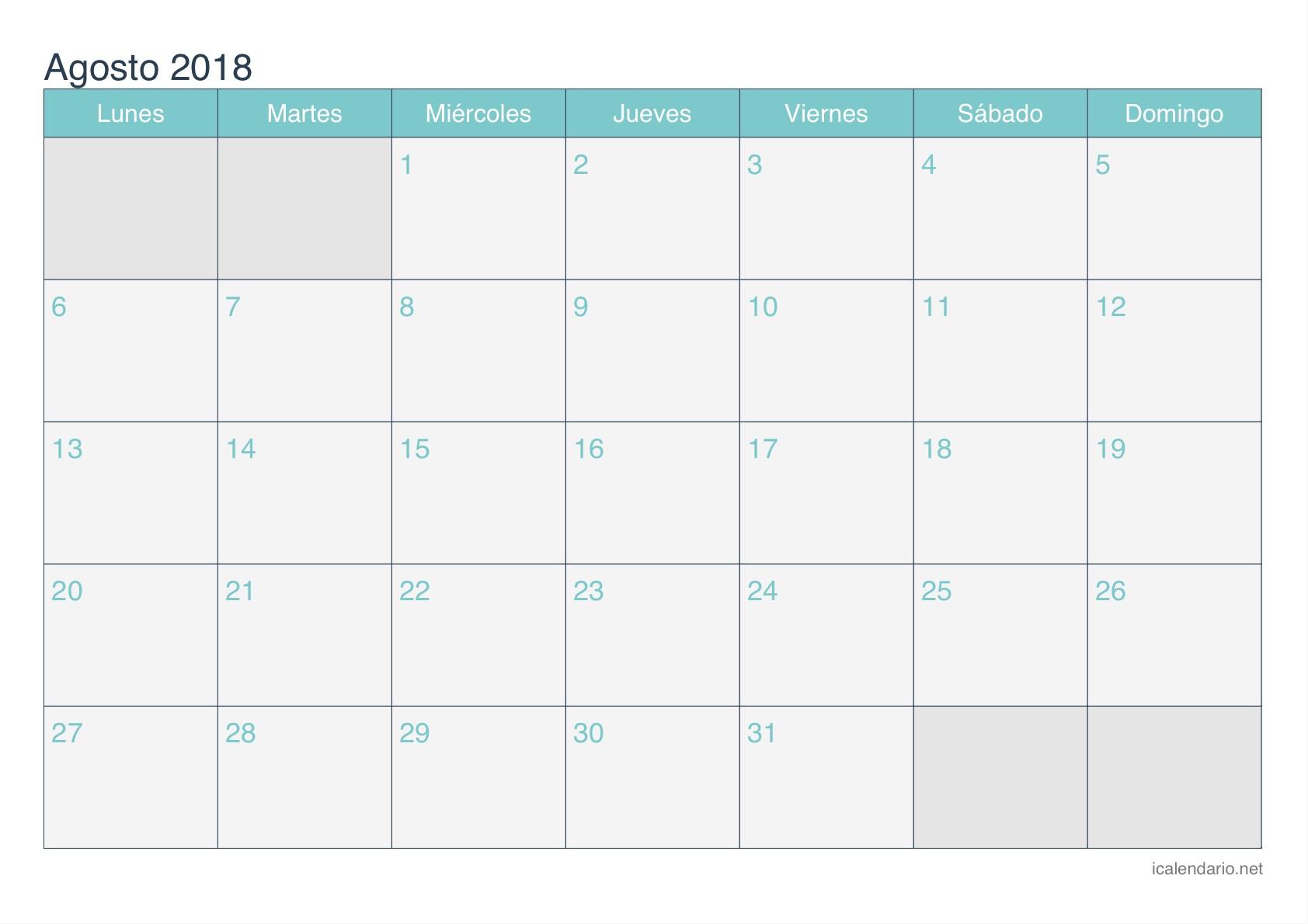 Calendario agosto 2018 para imprimir iCalendario