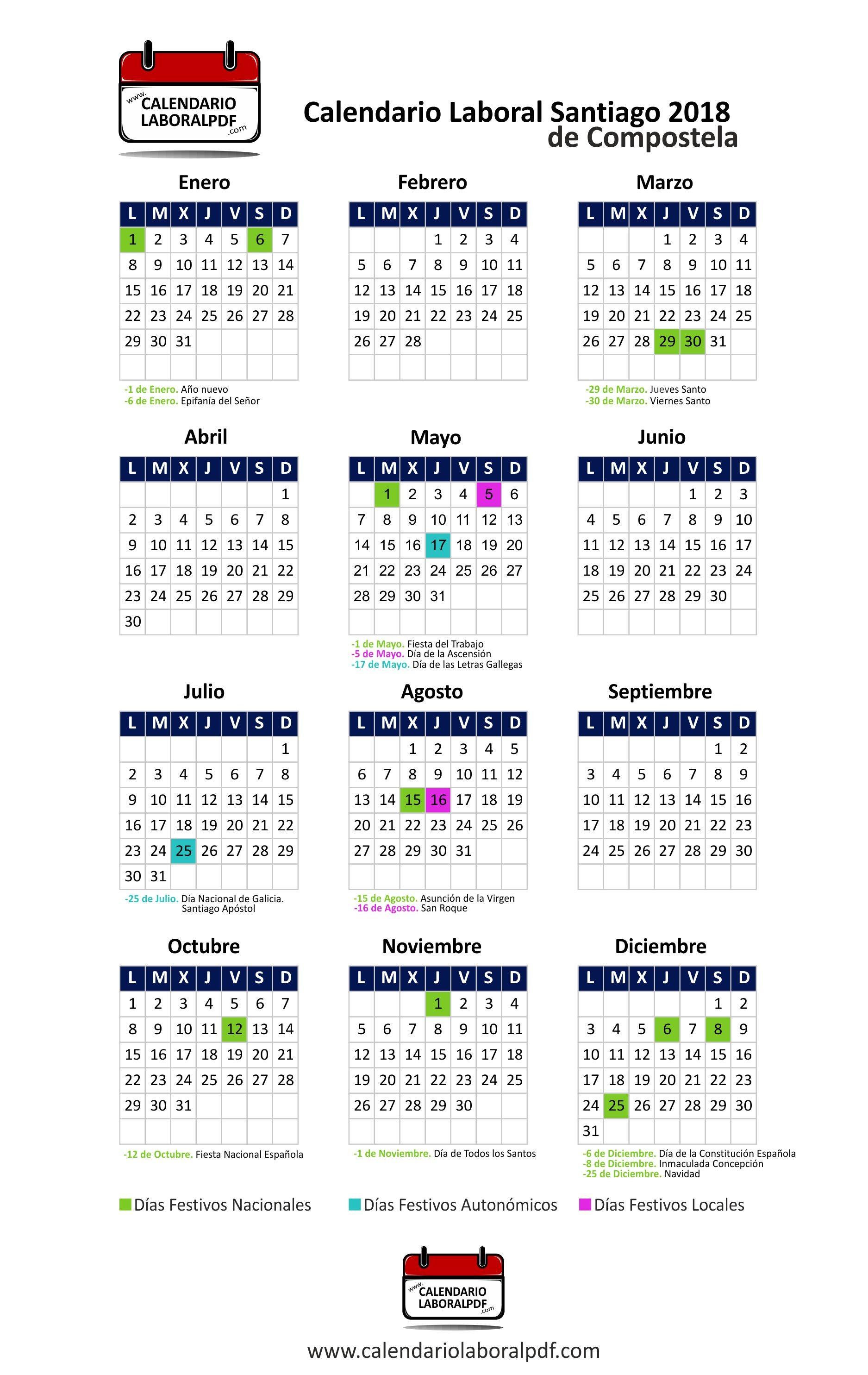 Descarga el Calendario Laboral 2018 de Santiago de postela en formato pinchando en el siguiente enlace