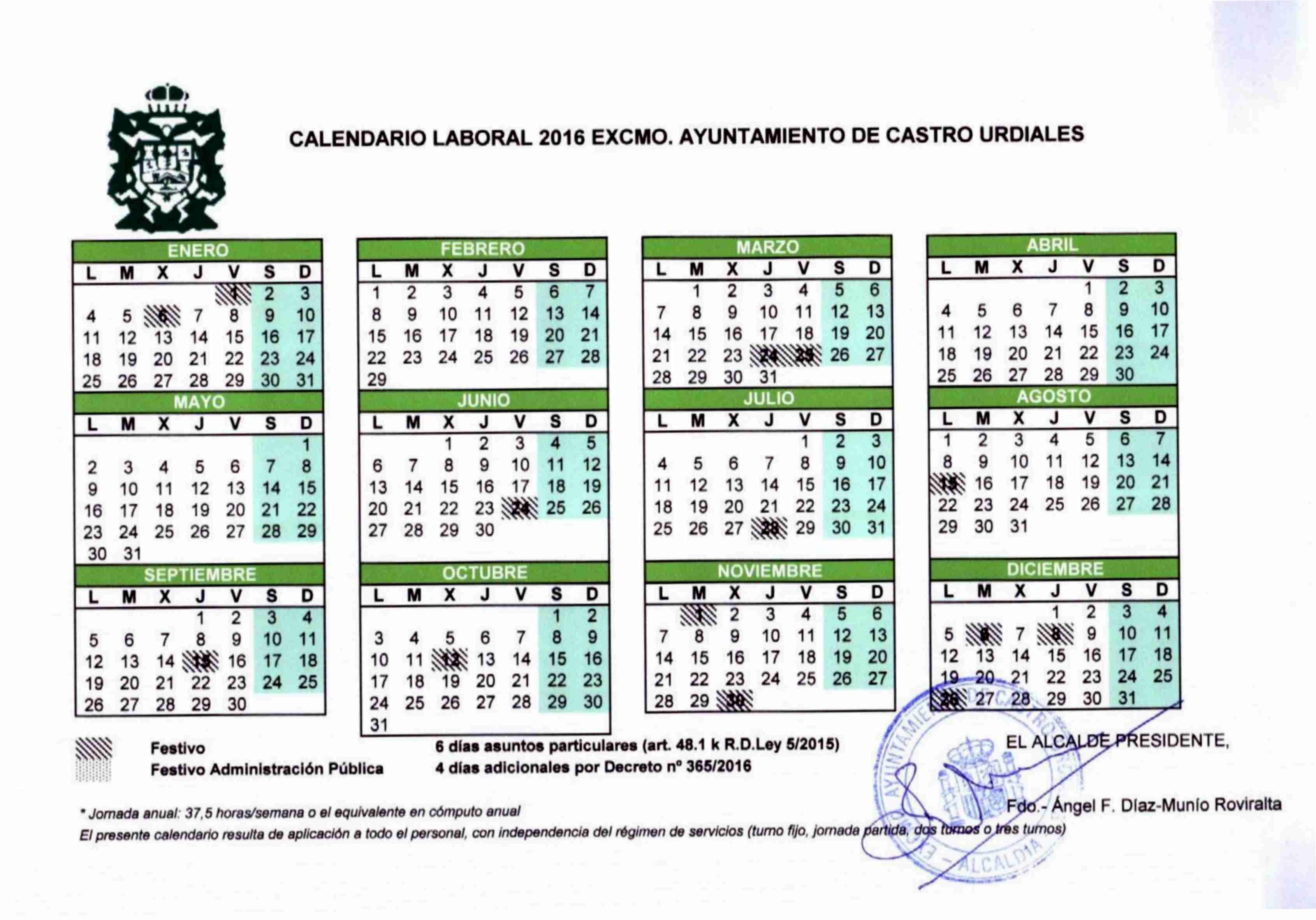 Imprimir Calendario Laboral 2017 Más Recientes Calendario Laboral 2016 Ayuntamiento De Castro Urdiales