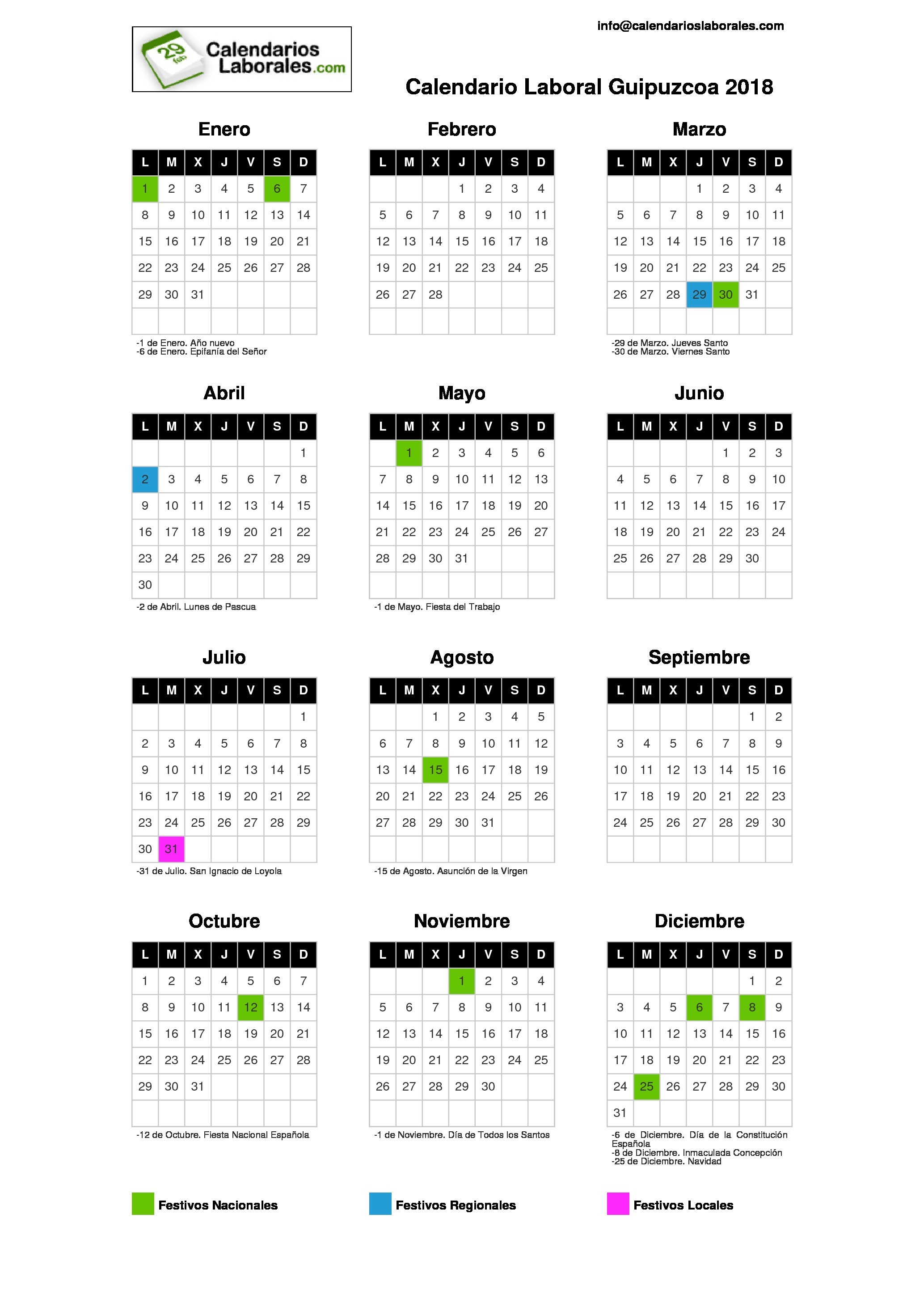 Calendario Laboral Guipuzcoa 2018