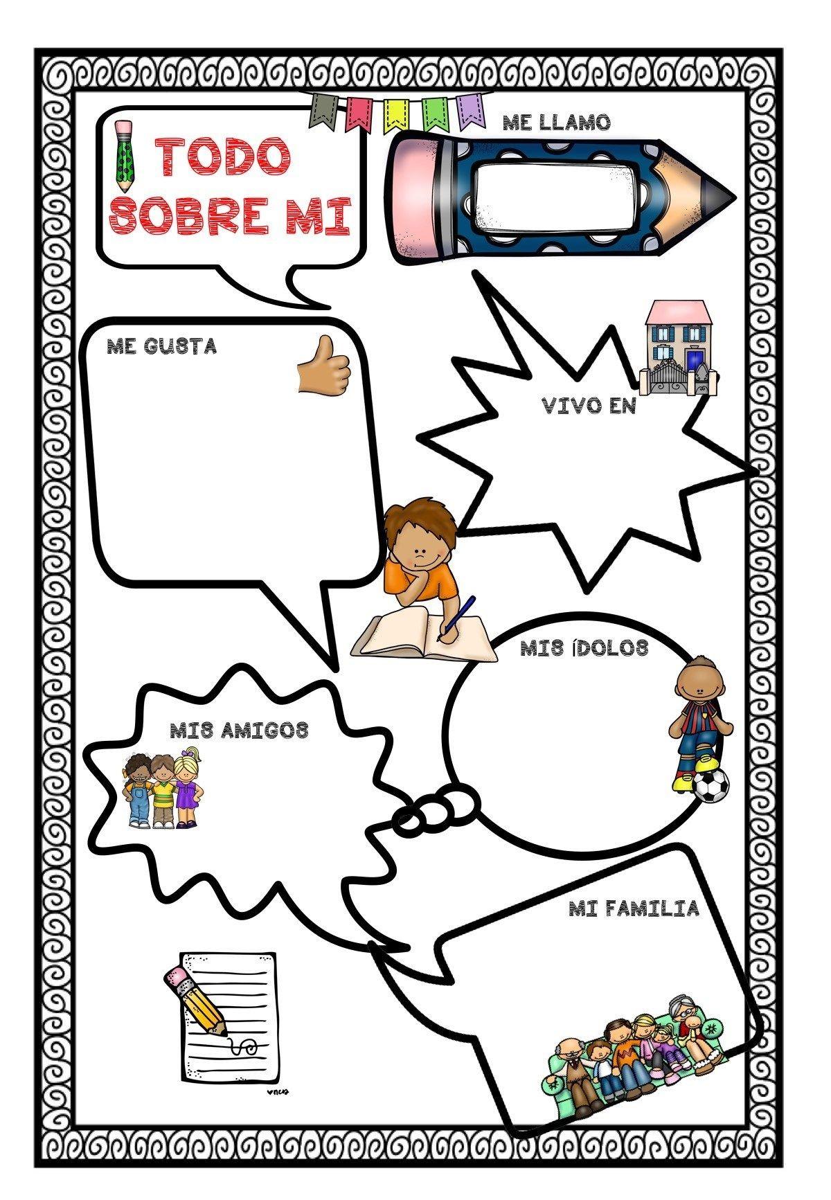 Primer da de clase actividad TODO SOBRE MI diferentes modelos Orientacion Andujar Teaching Spanish