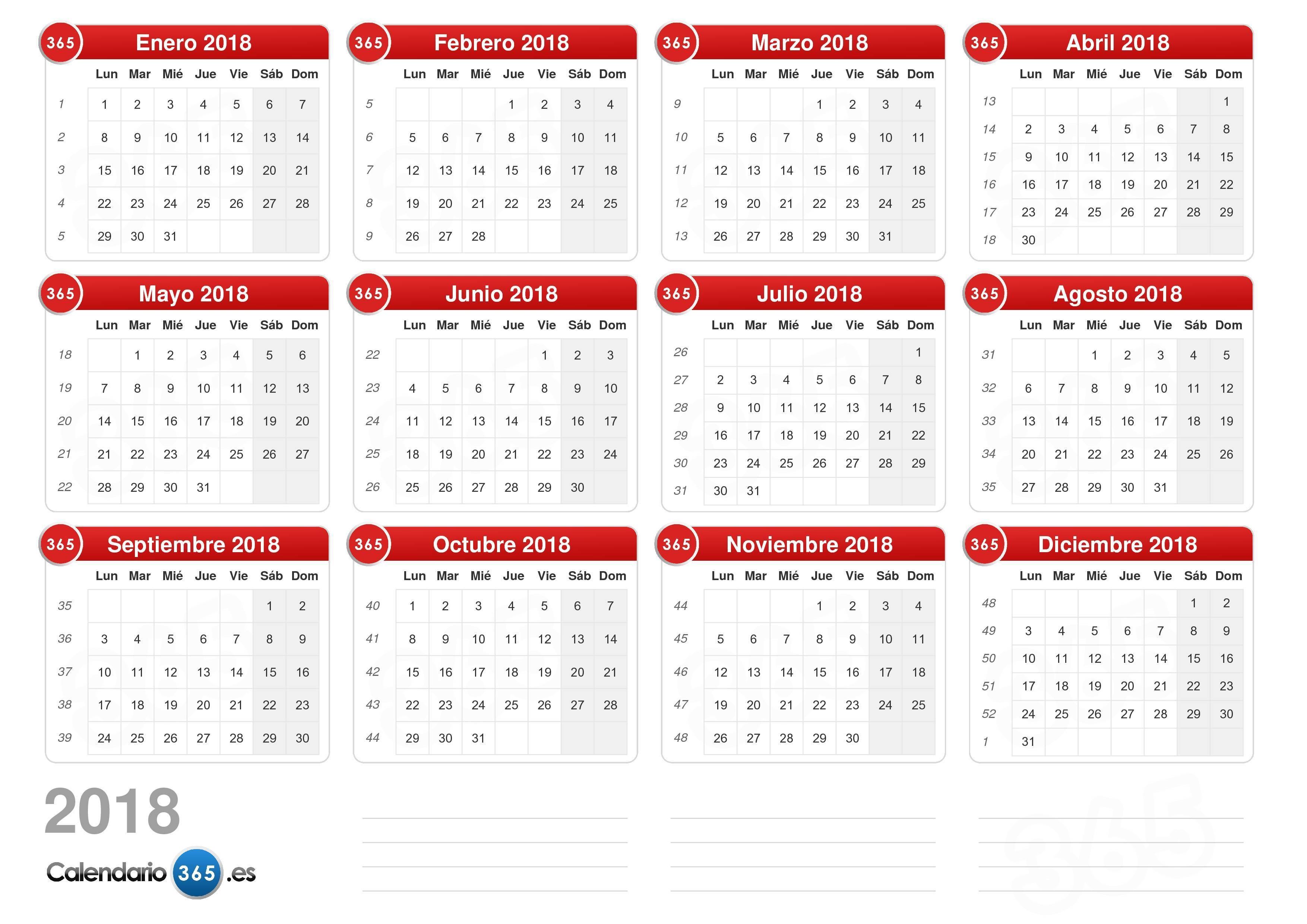 Calendario laboral 2018 plantillas para imprimir y descargar