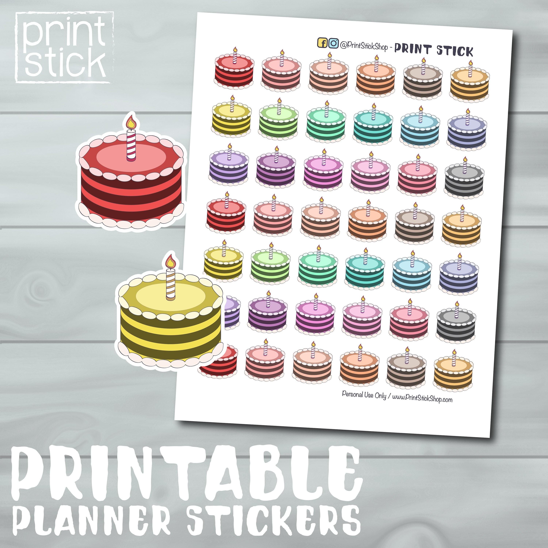 Etiquetas Torta Pastel Cumplea±os Aniversario Etiquetas Imprimibles Para el Diario Erin Condren Calendario ¡O Cualquier Otro Cuaderno