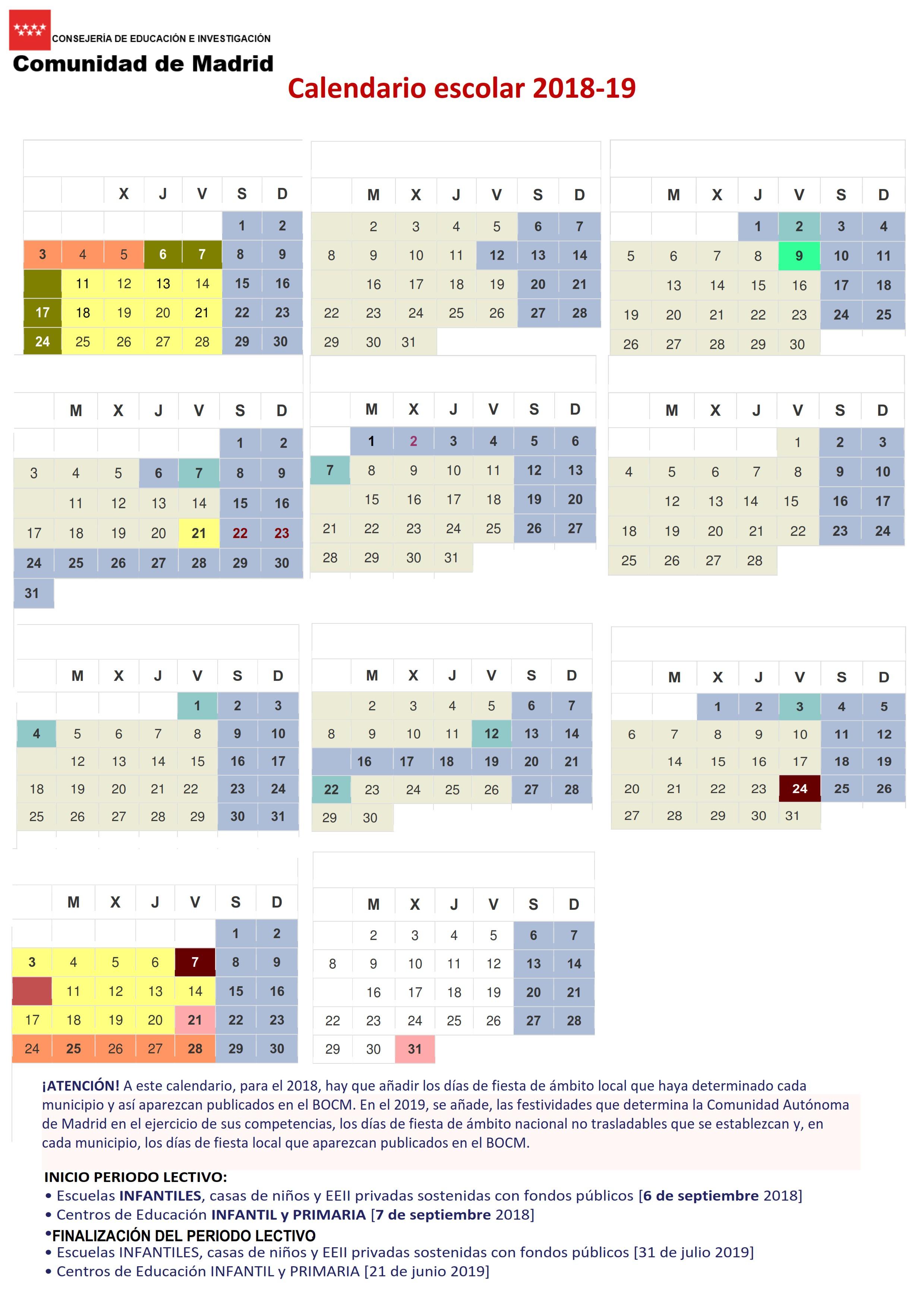 Calendario Escolar 2018 2019 Colegio San Rafael Arcángel Santa