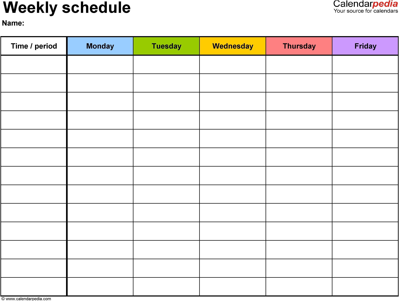 Excel Template Weekly Calendar Kleoachfix 2016 Printable Calendar Free