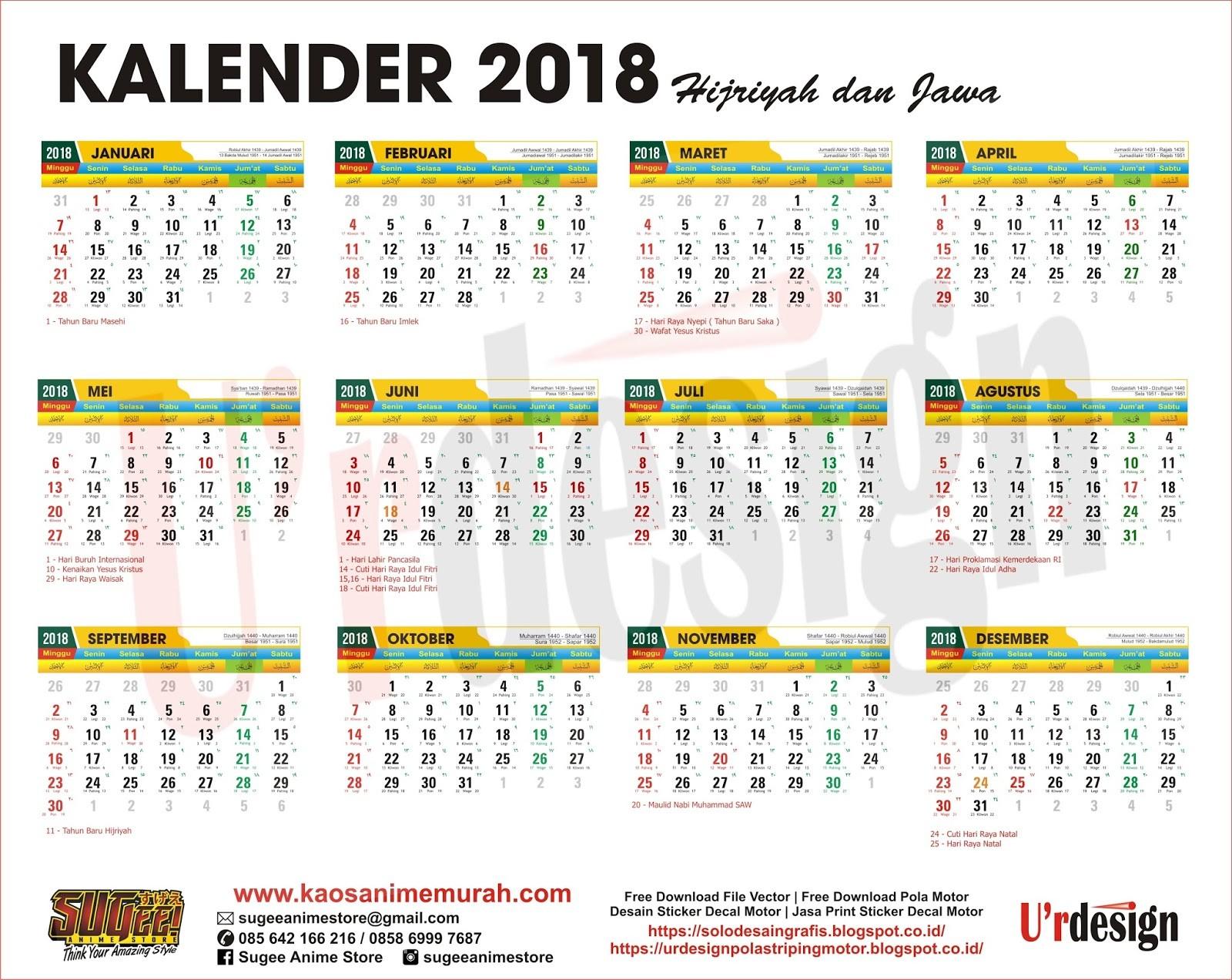Kalender 2018 lengkap