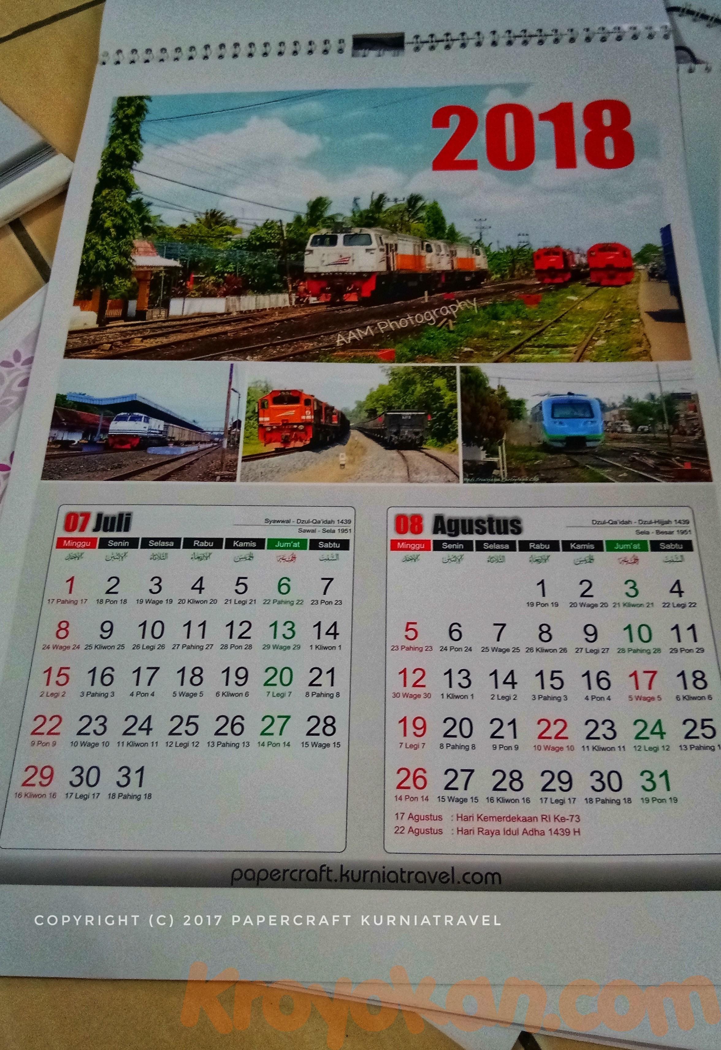 Kalender Dinding Tahun 2018 Tema Kereta Divre 3