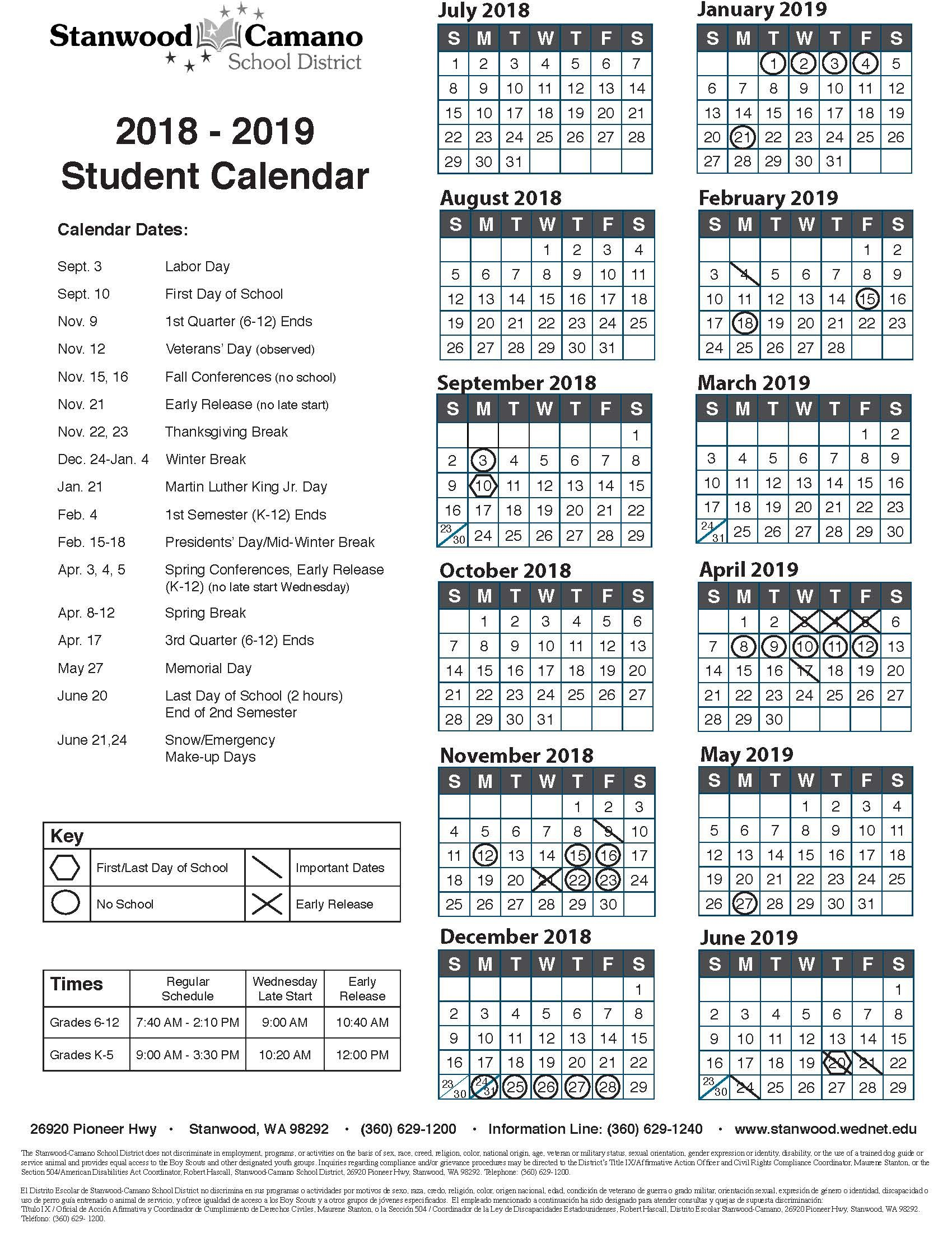 Student Calendar Stanwood Camano School District
