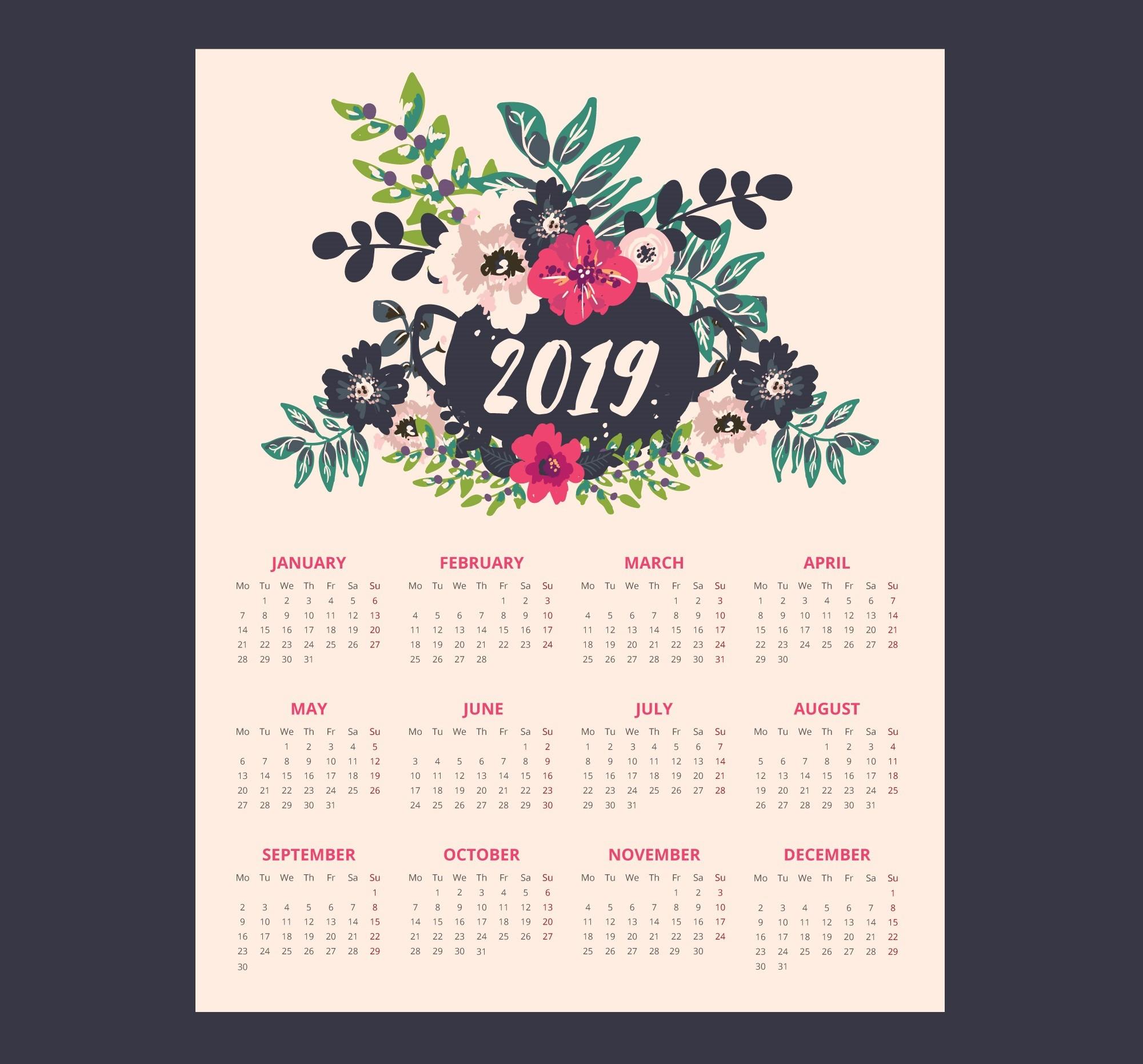 Kalender 2019 Pdf Free Download Más Populares Free Printable 2019 Calendar Of Kalender 2019 Pdf Free Download Más Recientes 28 New Printable Calendar with Holidays Download