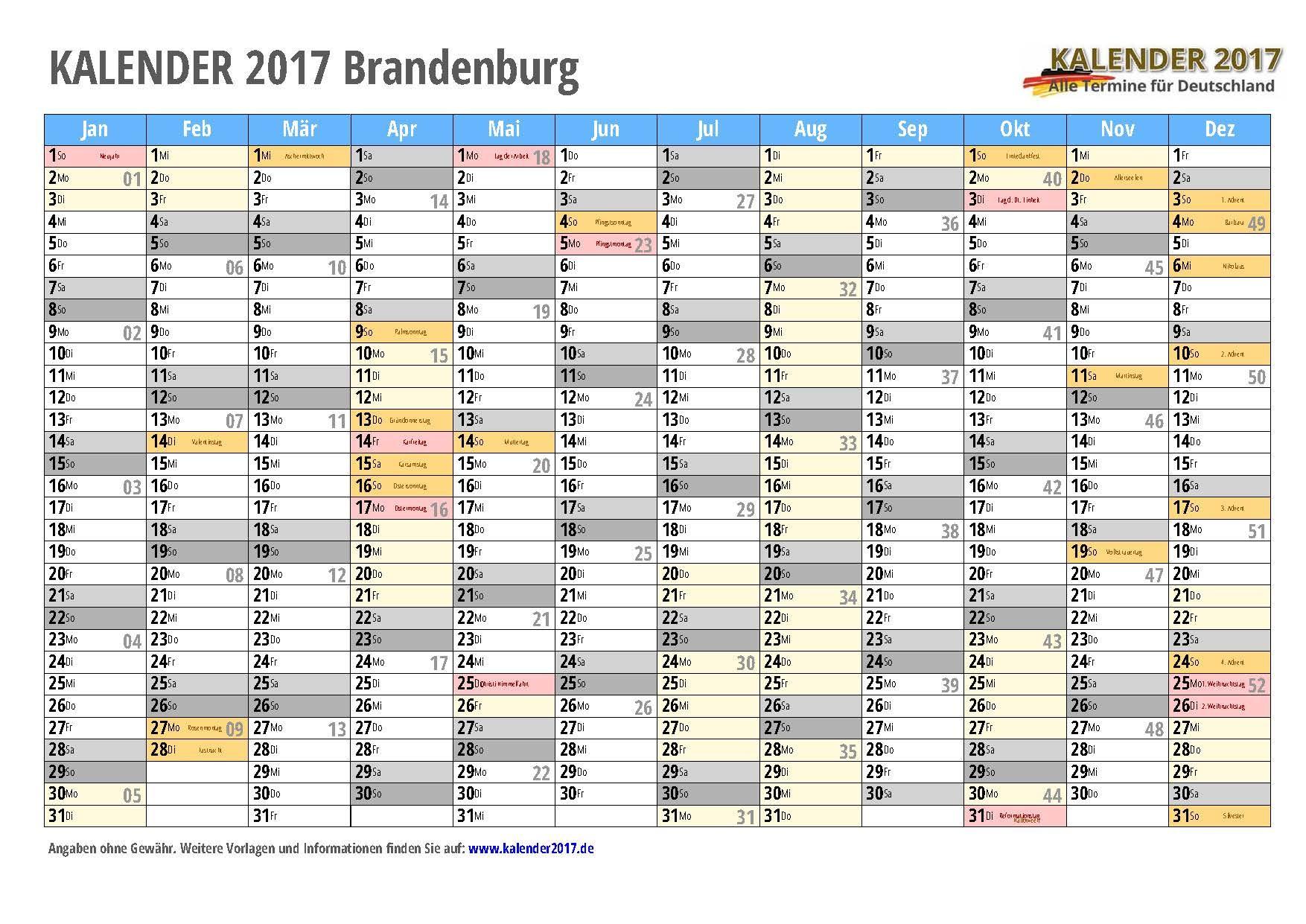 Kalender 2017 Brandenburg zum Ausdrucken KALENDER 2017