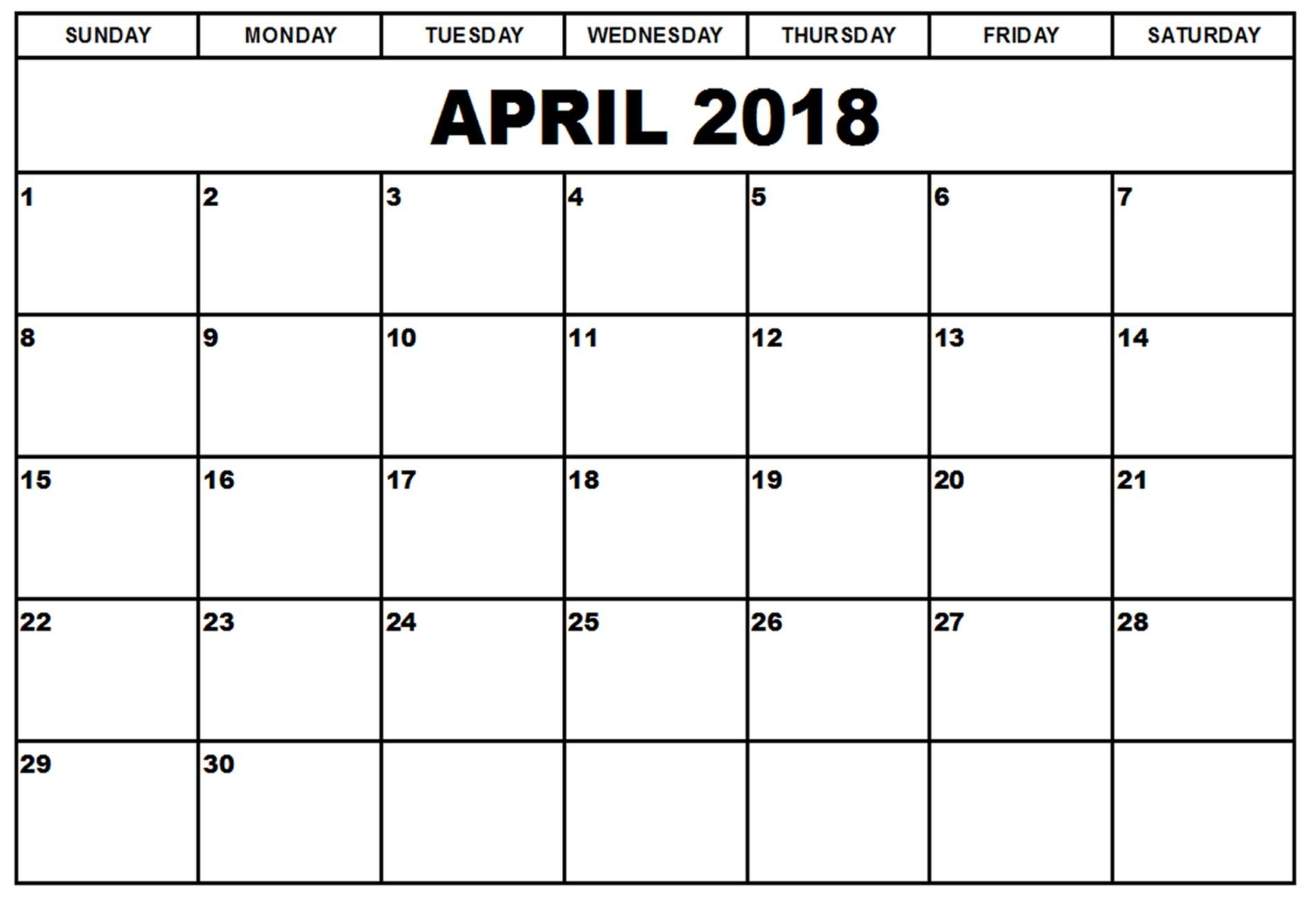 April 2018 Calendar Holiday Holiday April Calendar 2018