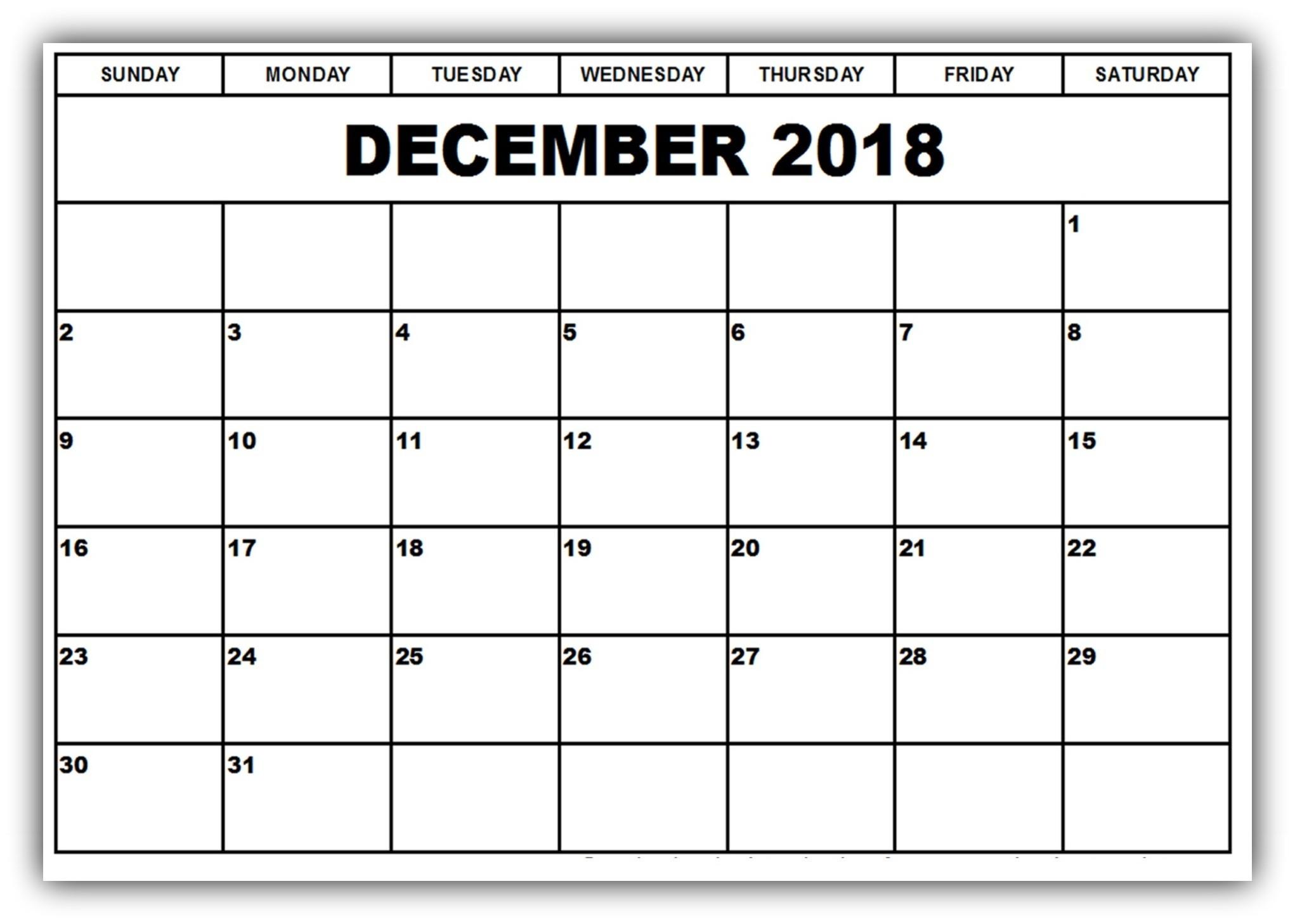 december 2018 calendar page word excel pdf printable template