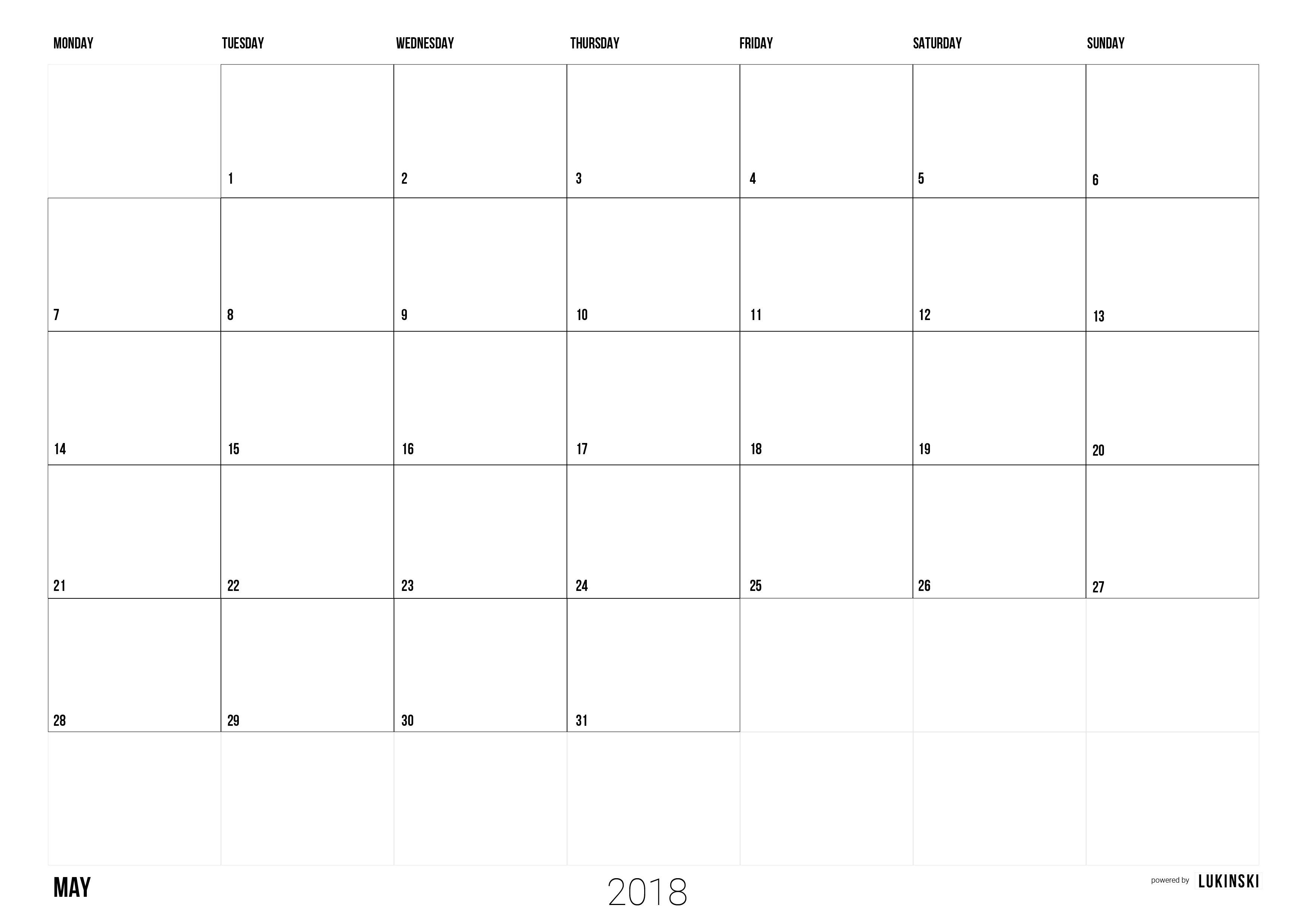 June 2018 – Free calendar for plannings