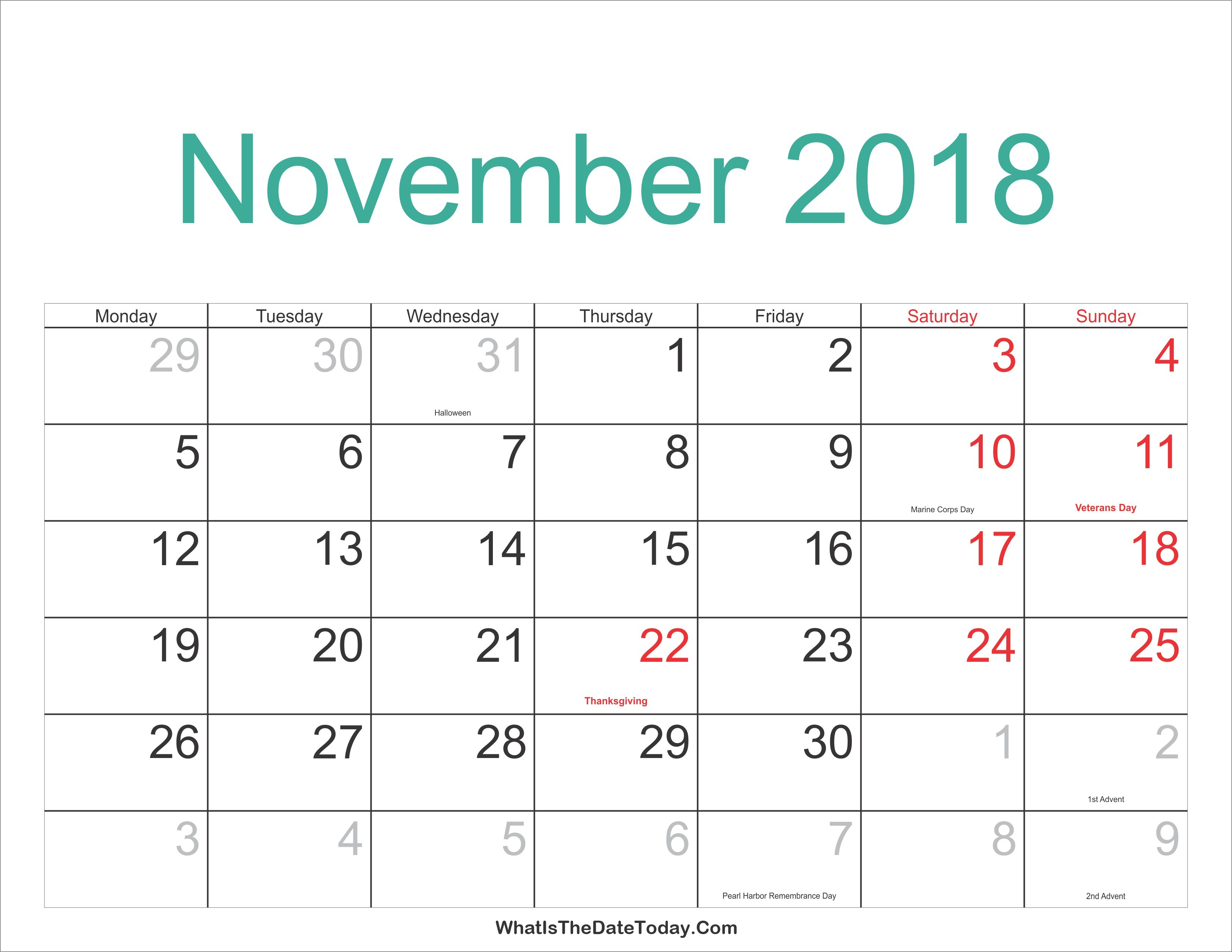 Kalender December 2019 Pdf Más Recientes November 2018 Calendar with Holidays India Usa Canada Nz Malaysia
