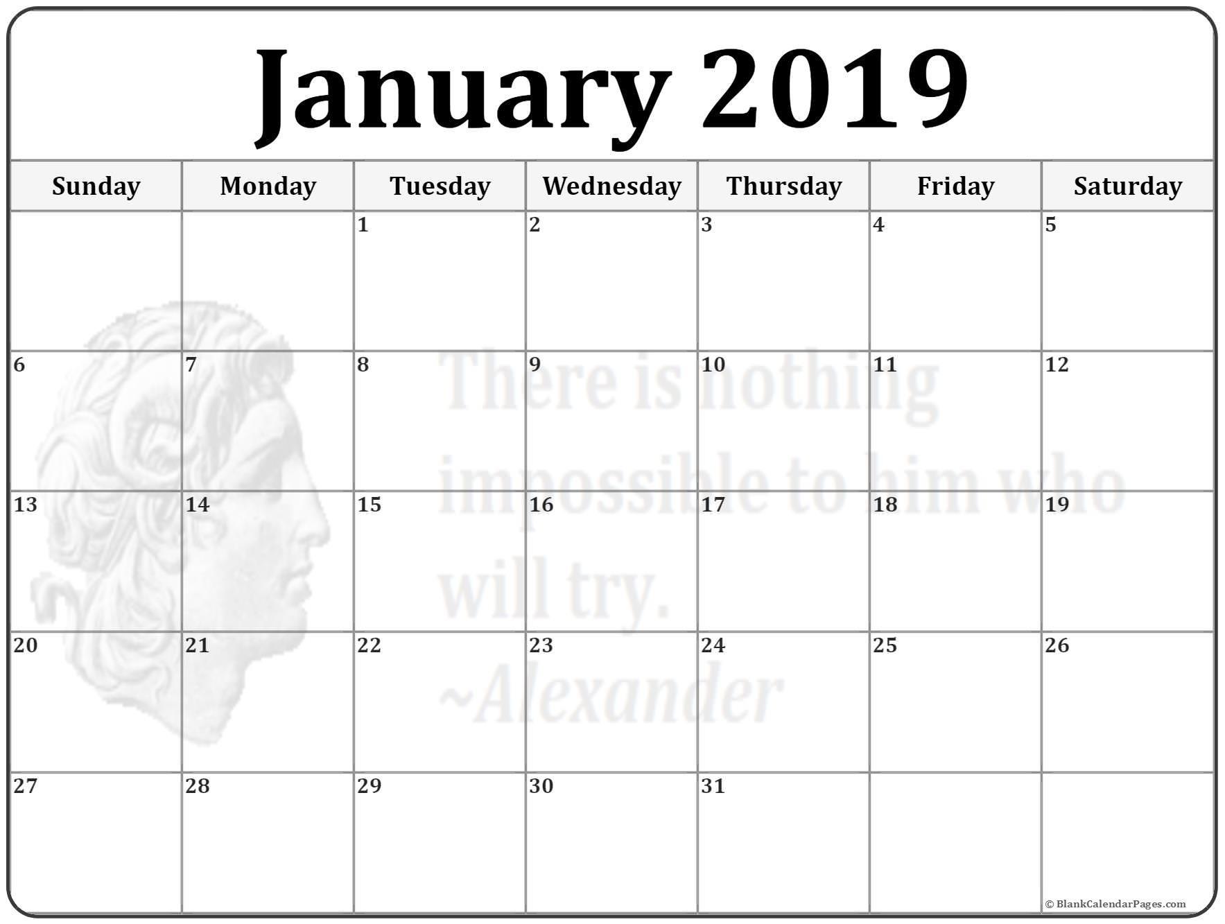 2019 Calendar Canada Download Más Recientemente Liberado January 2019 Wincalendar