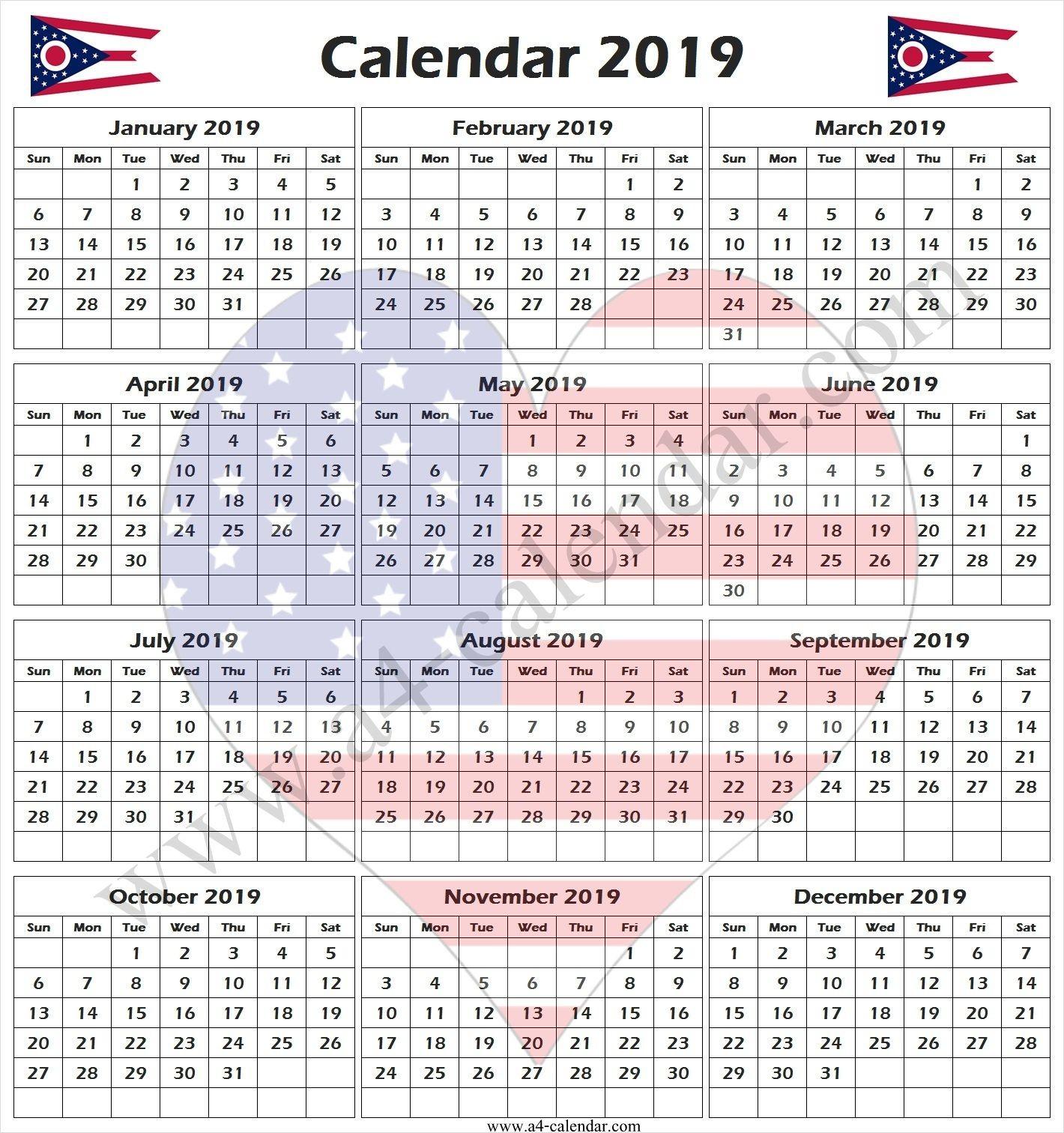 2019 Calendar Usa