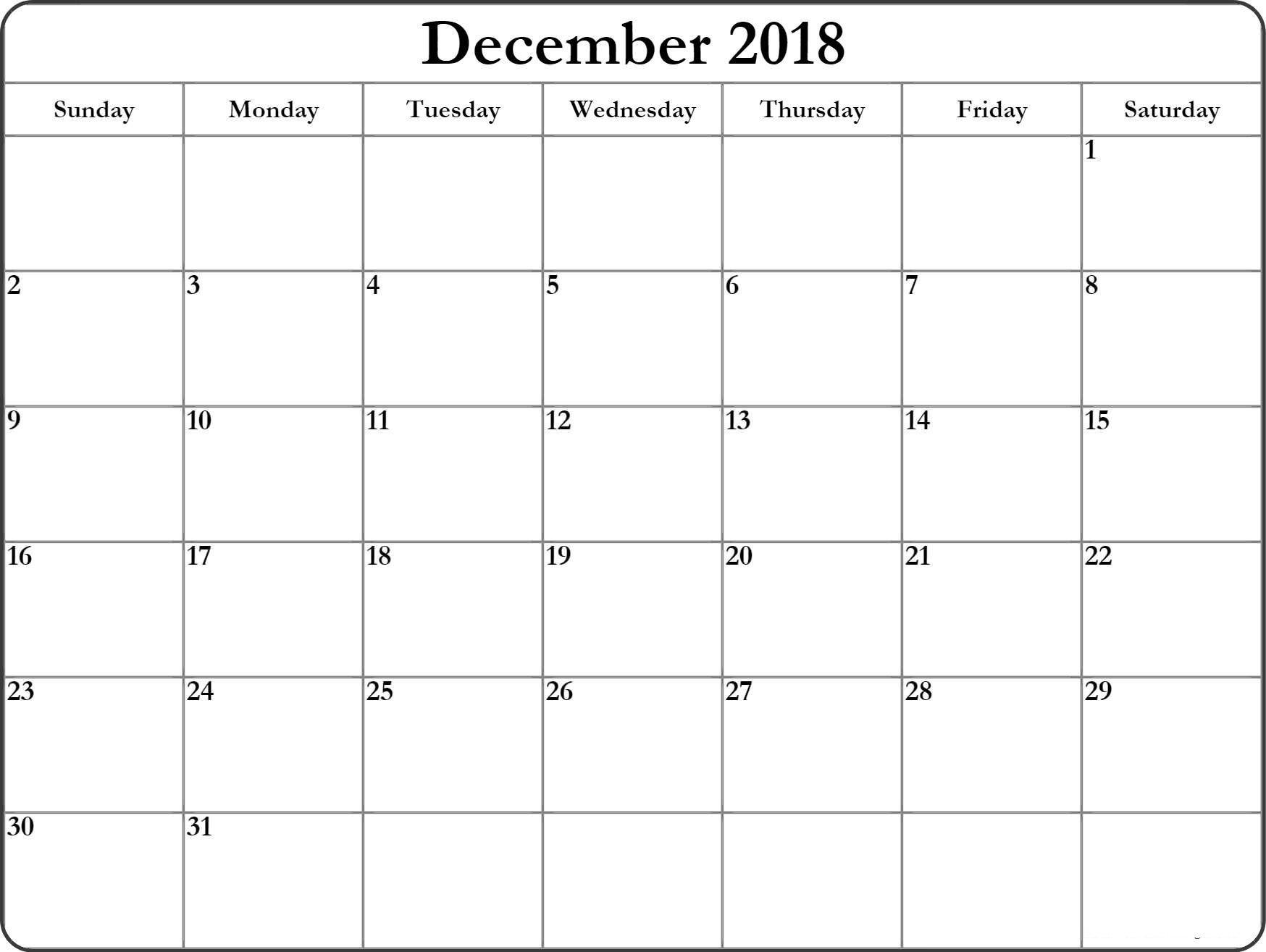 December 2018 Monthly Calendar Excel With Notes MonthlyCalendar MonthlyPrintableTemplate MonthlyDecemberCalendar 2018Calendar