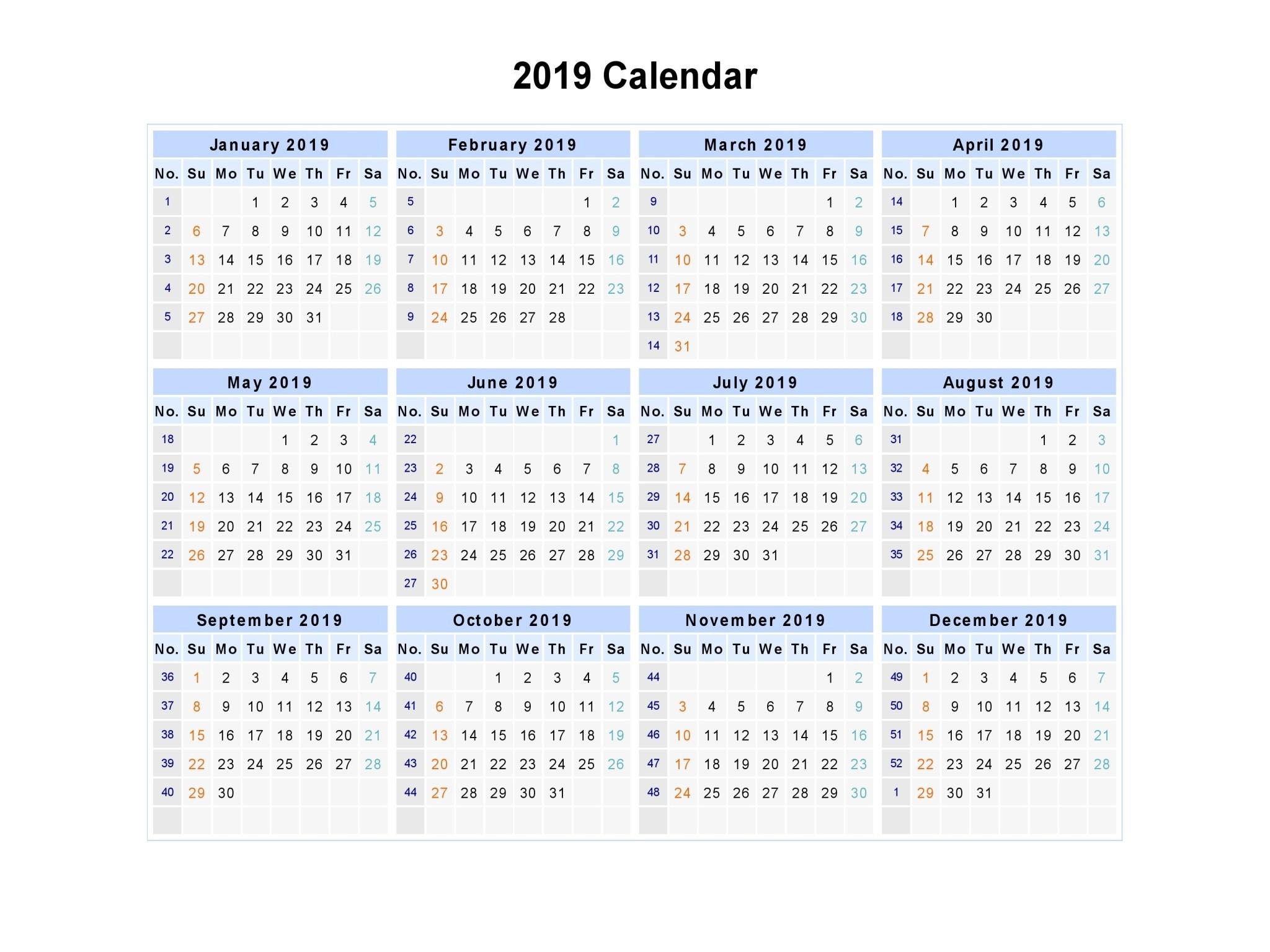 Free printable calendar templates calendar Week 2019 excel theme picturesque calender