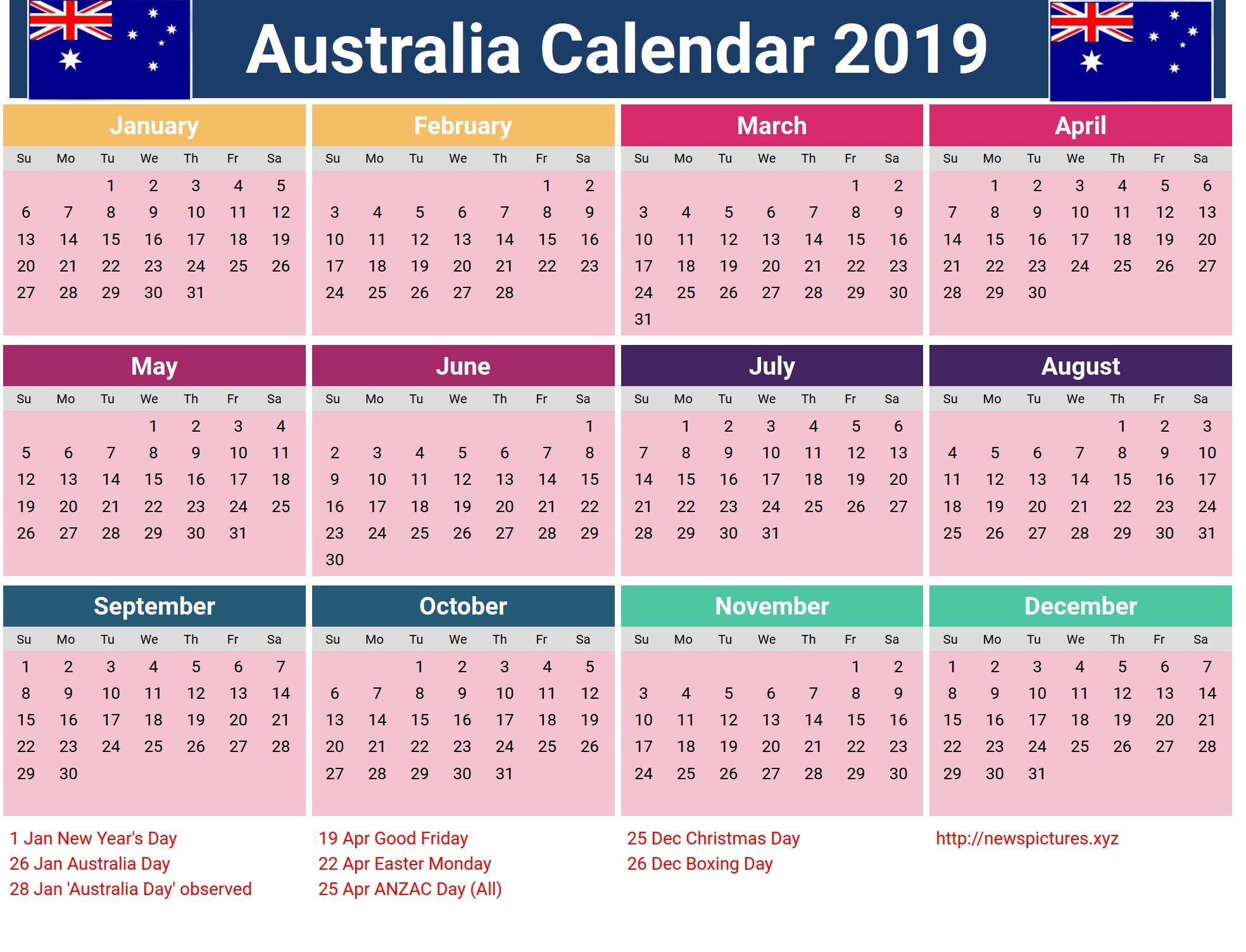 2019 Calendar Excel with Holidays 2015 2016 2017 Calendar 4 Three