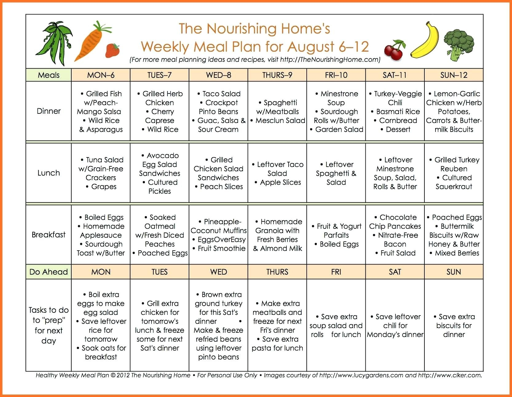 weekly meal schedule template plan word planner with grocery list