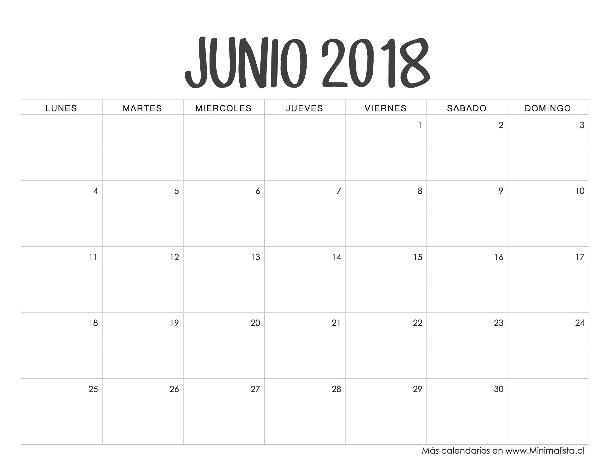 Calendario Junio 2018 Apuntes✏ Pinterest