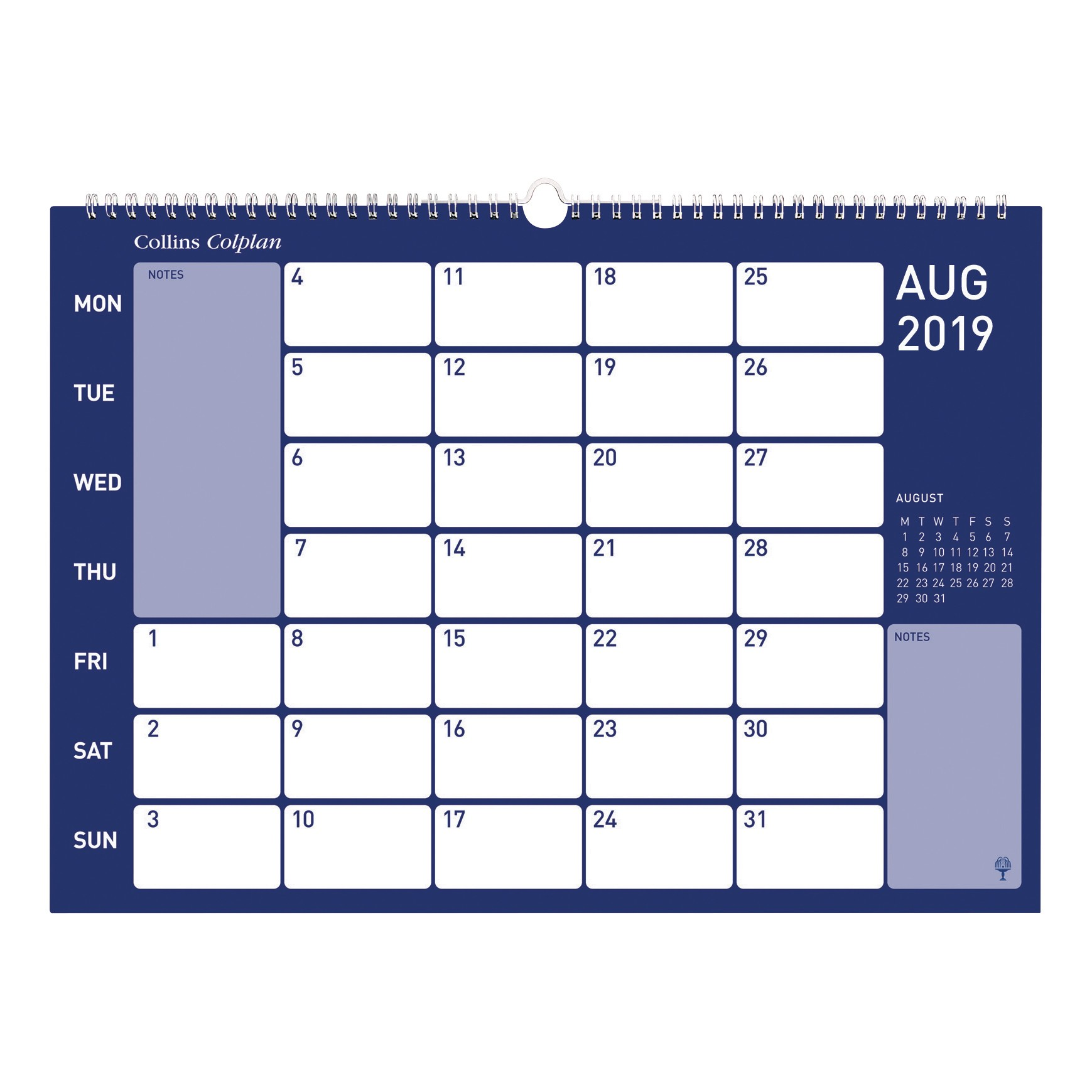 Collins Colplan 2019 Colplan Memo Calendar Month to View Landscape 297x420mm Assorted Ref CMC 2019