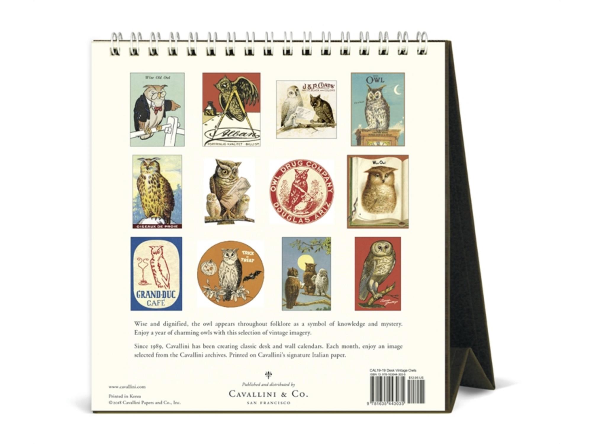 Cavallini 2019 Desk Calendar Vintage Owls – Jenni Bick Bookbinding