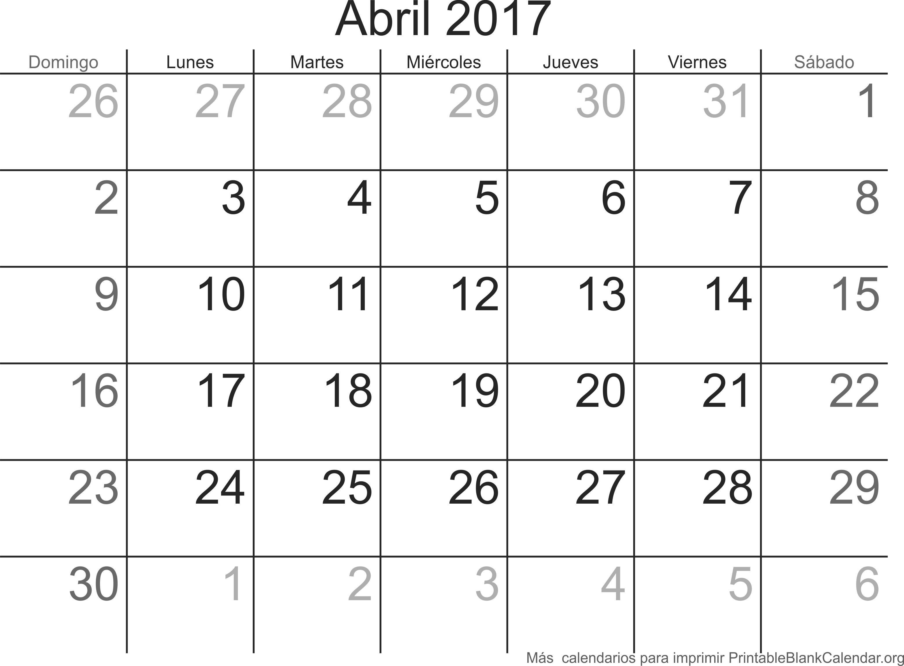 calendario para imprimir abr 2017 calendarios para imprimir