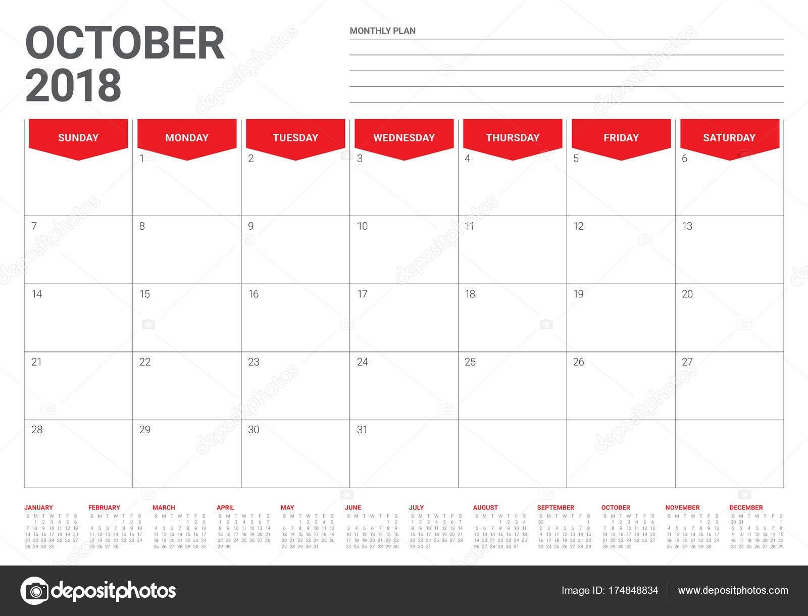depositphotos stock illustration october 2018 planner calendar vector