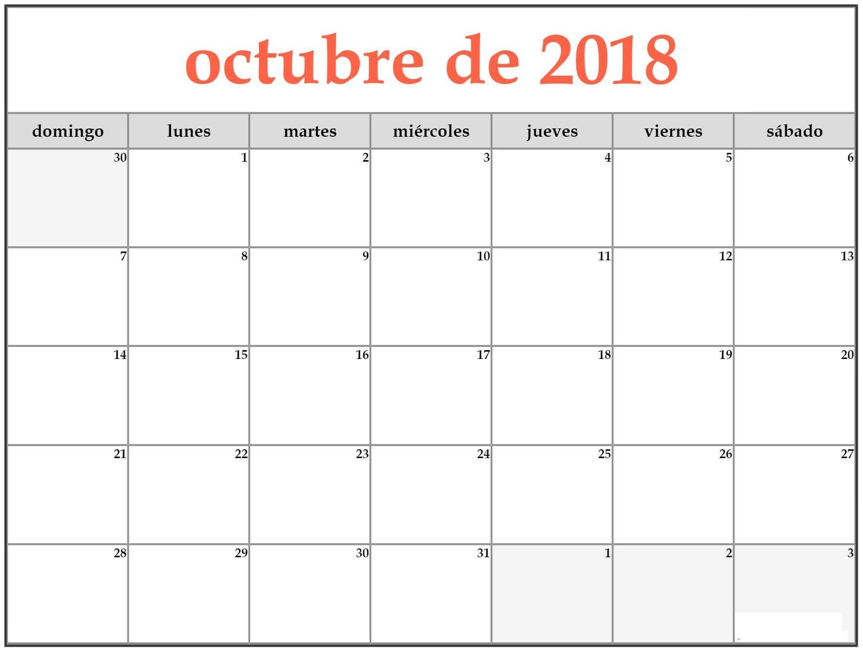 Calendario Mes De Octubre 2018 Excel