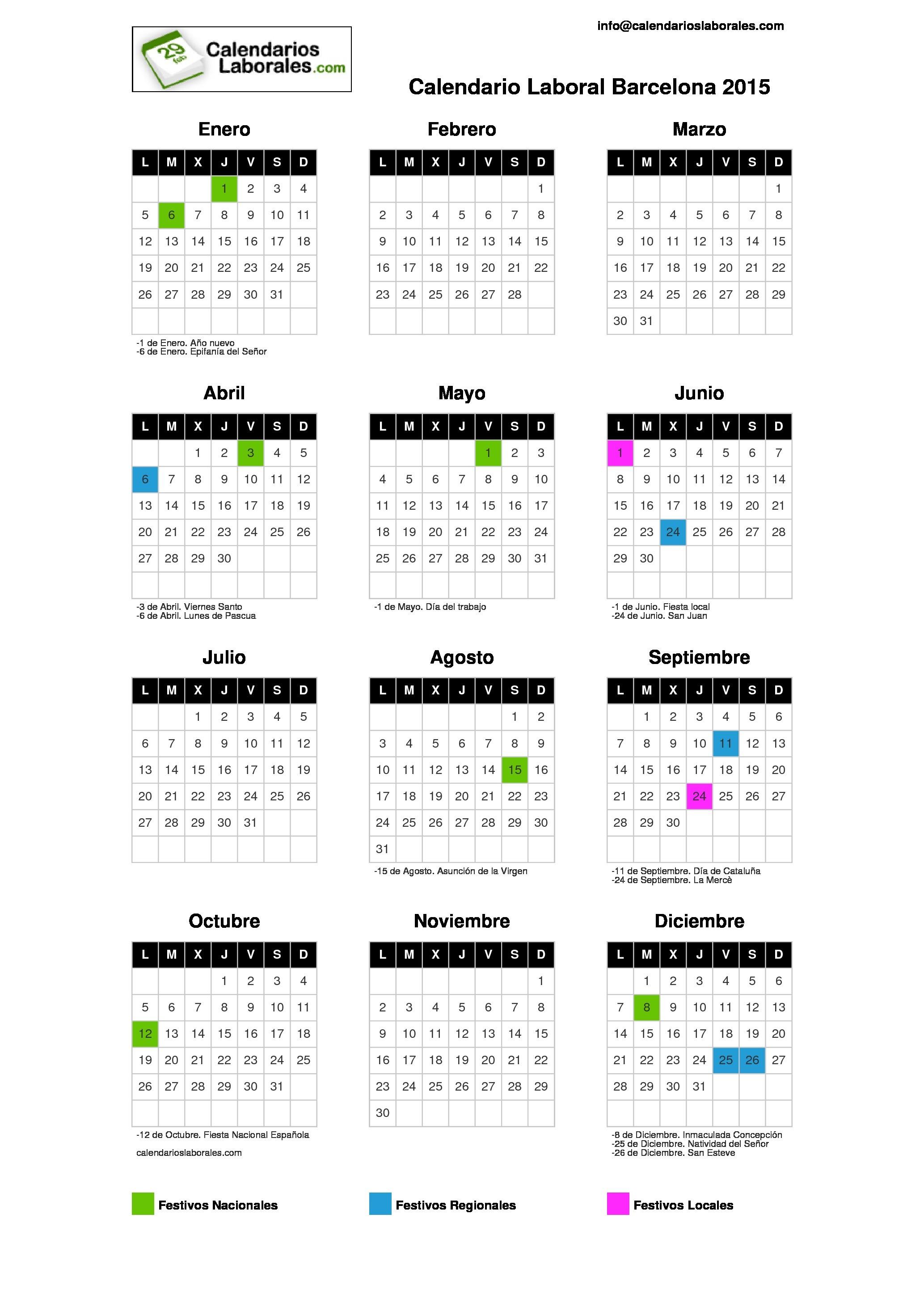 calendario laboral barcelona 2015