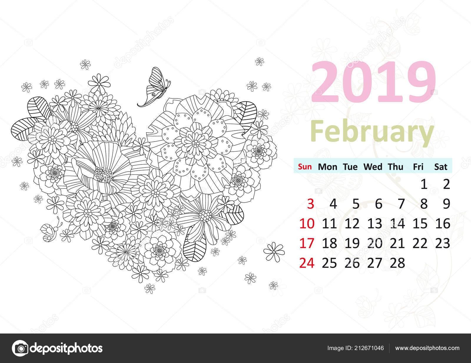 Disegni da colorare pagina calendario per febbraio 2019 con fiori che formano cuore — Vettoriali di Oksana