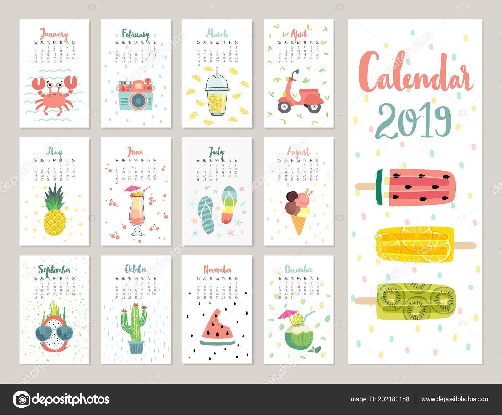 Calendario 2019 Calendario Mensile Carino Con Lifestyle Og ti Frutti Piante — Vettoriale Stock