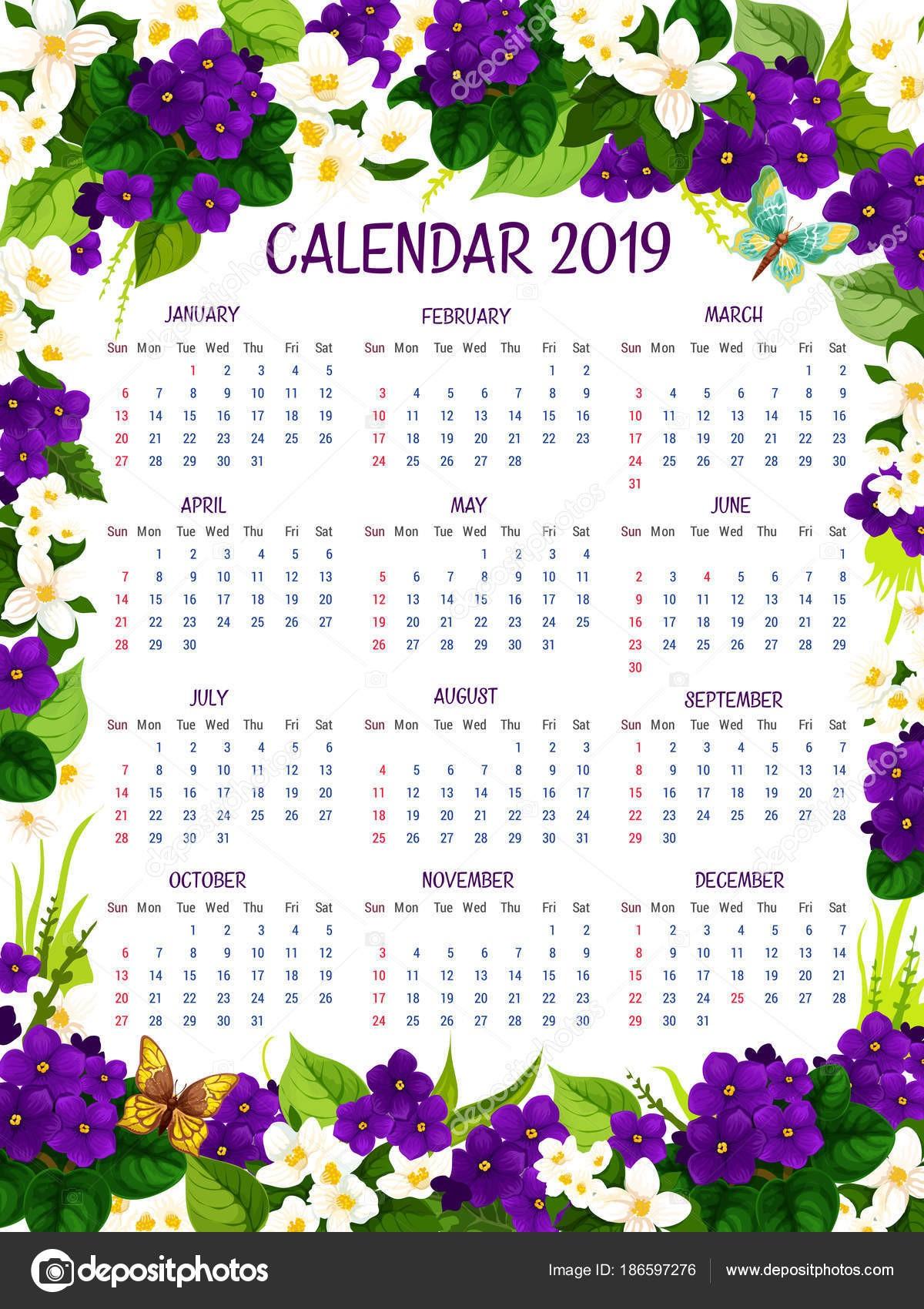Calendario 2019 Annuale Da Stampare Gratis Mejores Y Más Novedosos Disegno Floreale Fiori Del Croco Di 2019 Calendario Vettoriale
