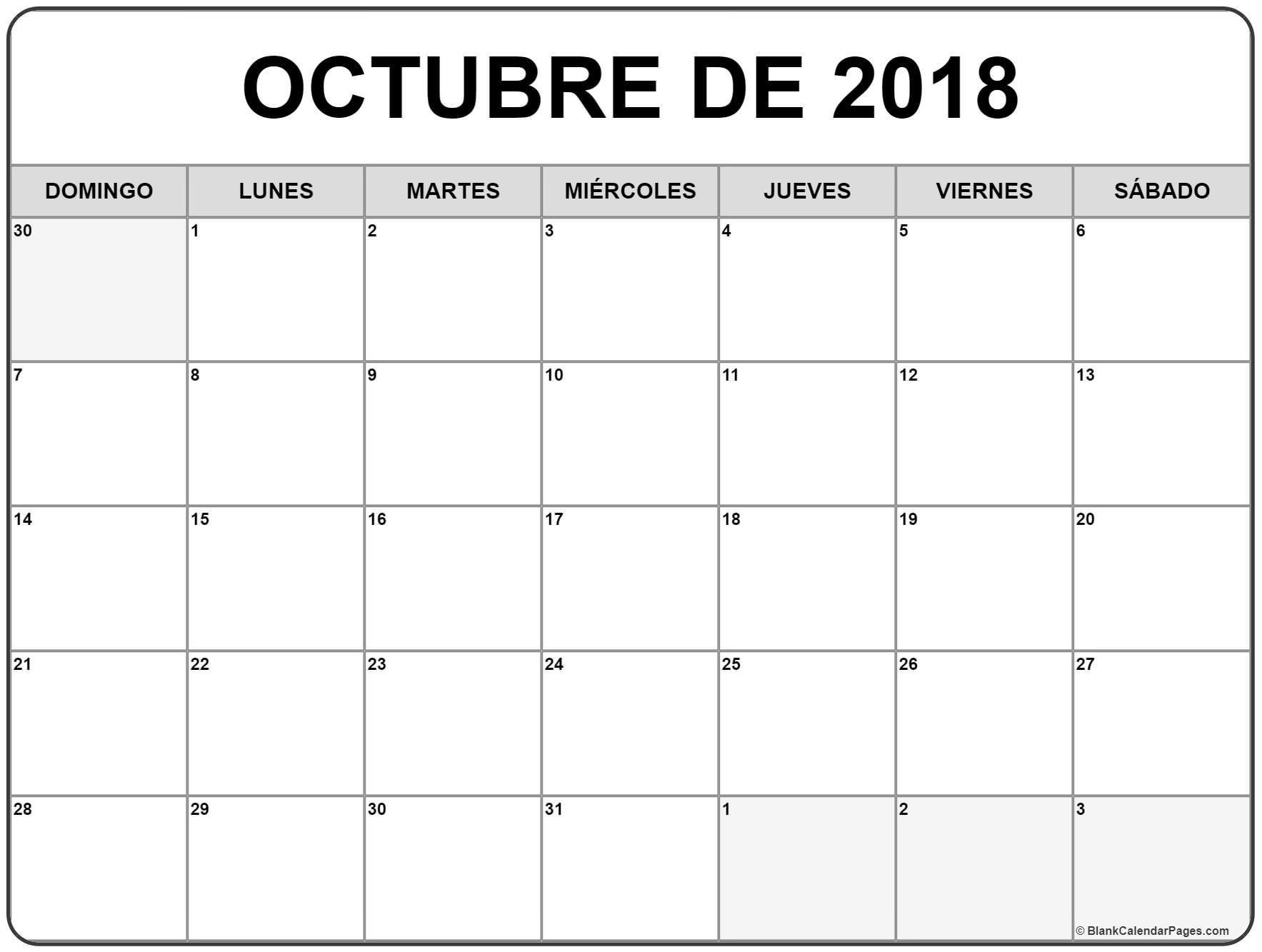 Octubre 2018 Calendario 16