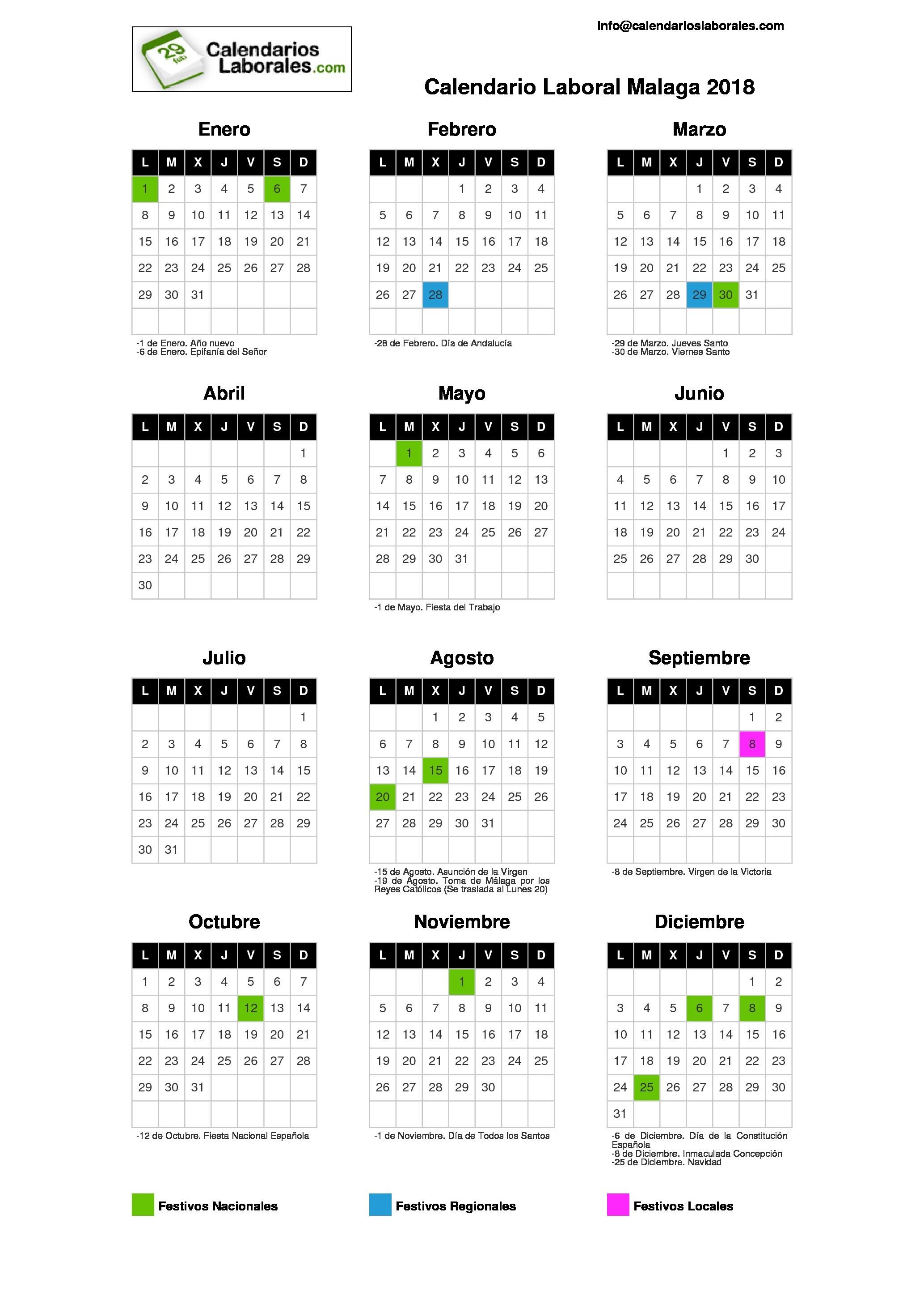 calendario 2018 con festivos
