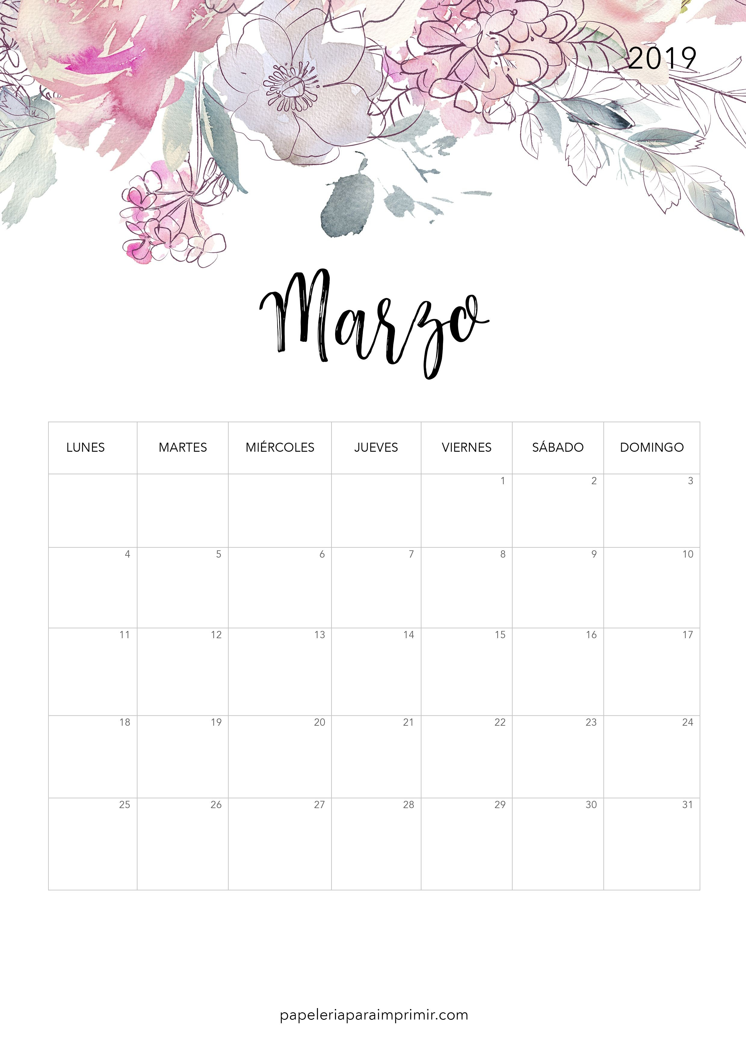 Calendario para imprimir Marzo 2019 calendario imprimir marzo march printable freebie gratis papeleria stationary flores flowers nature