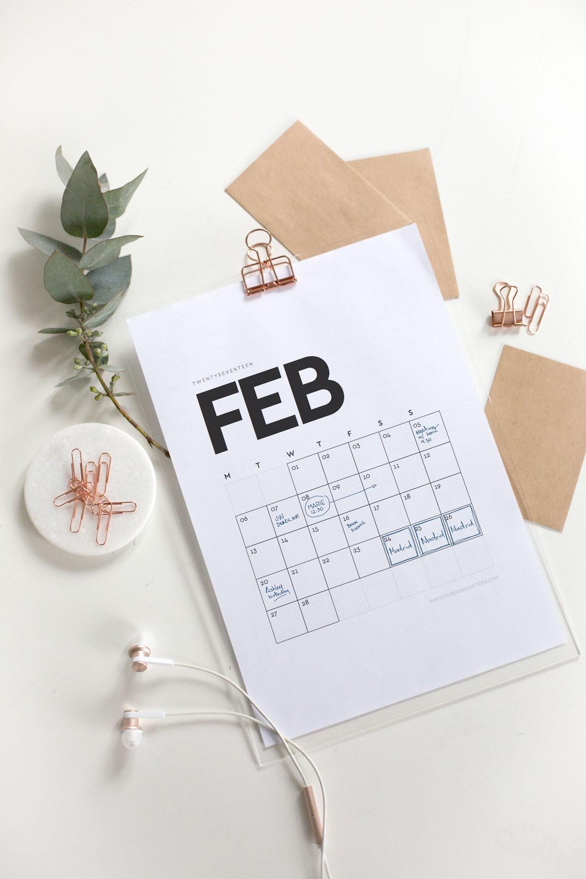 Calendario 2019 Bonito Pdf Recientes Printable Wall Calendar 2017 Free Download