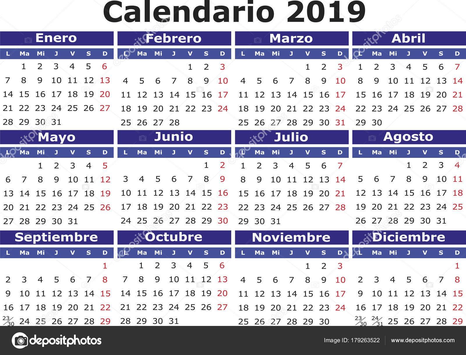 Calendario 2019 Brasil Actual Åpanělsk½ Kalendář 2018 Horizontáln — Stock Vektor © Alfonsodetomas