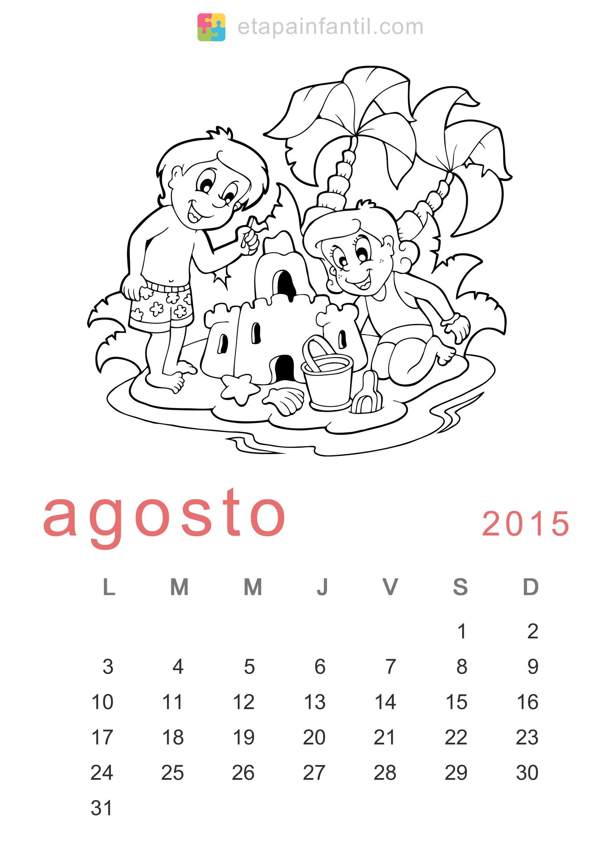 colorear agosto 2015 calendario para imprimir y colorear