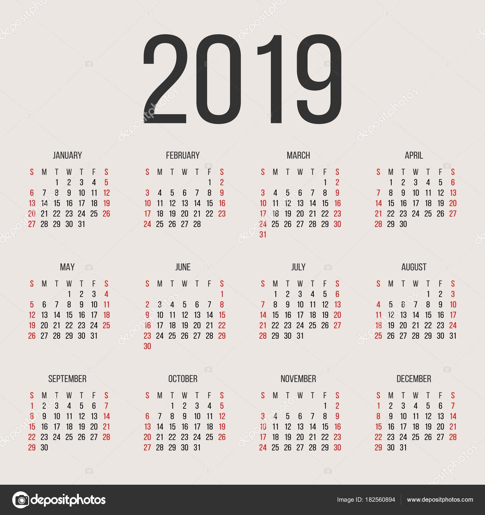 Kalendarzowy 2019 roku wektor szablon projektu Rok kalendarzowy 2019 proste Wektor ko…'o kalendarzowy 2019