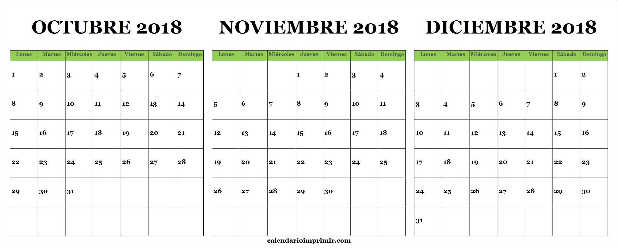 best Calendario De Octubre Y Noviembre 2018 image collection