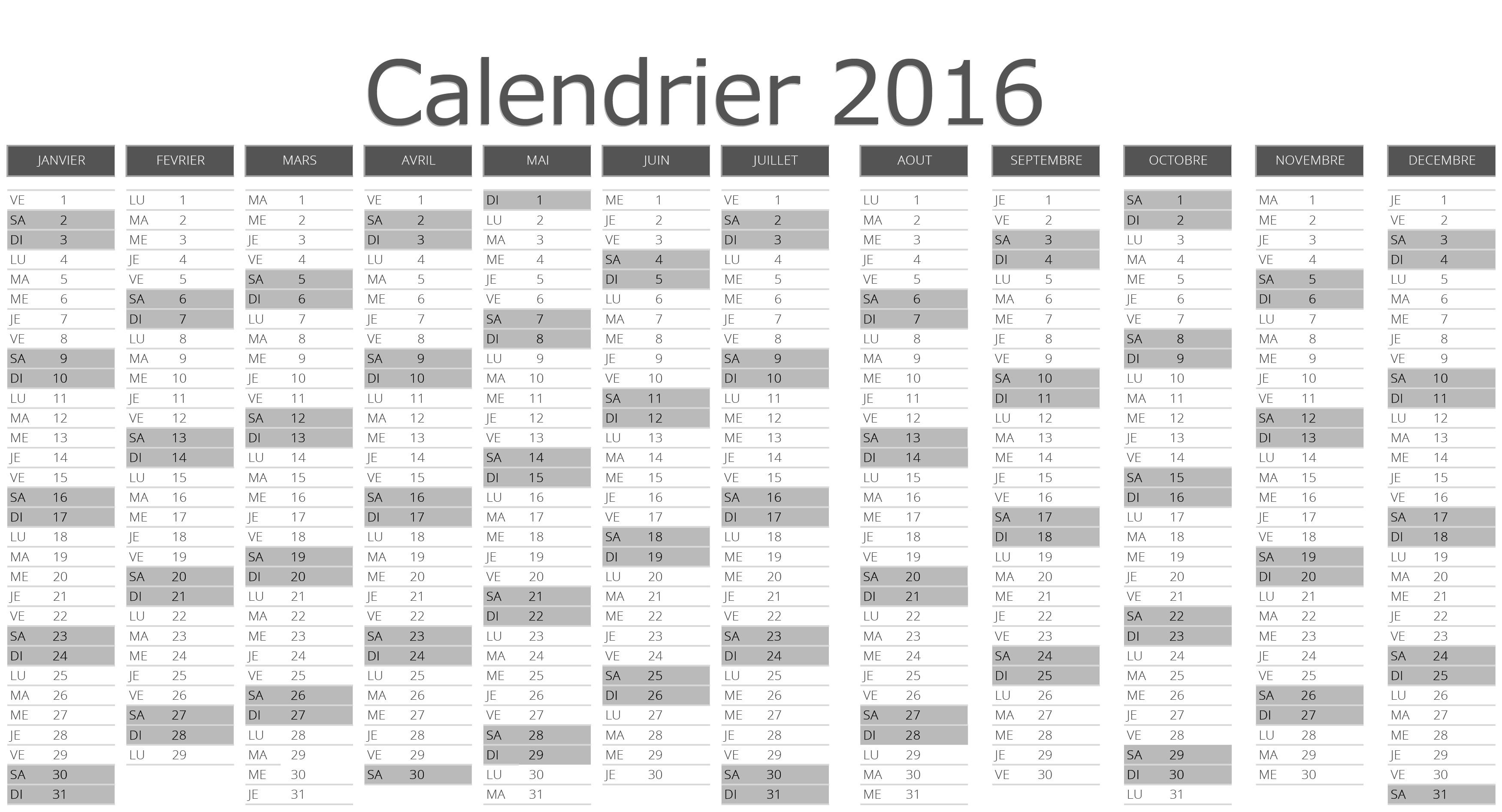 Calendrier 2016  imprimer