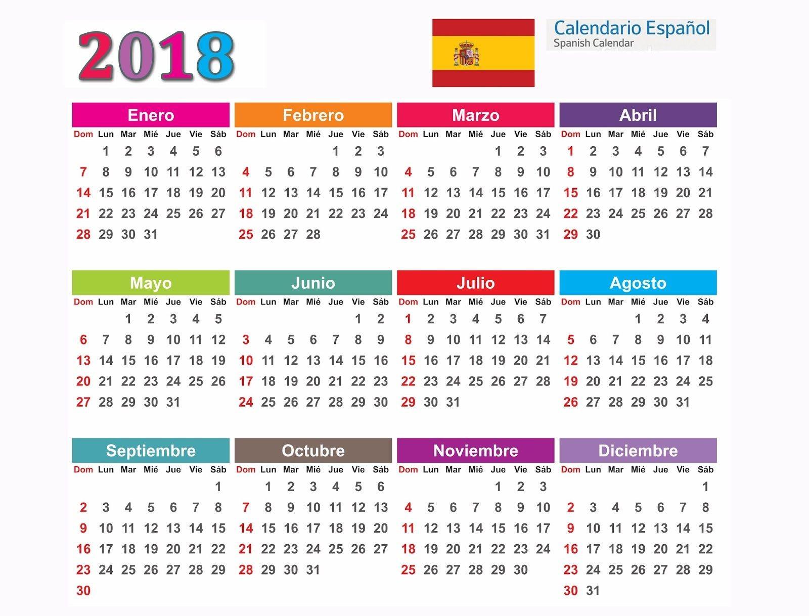 Calendário 2018 Espanho