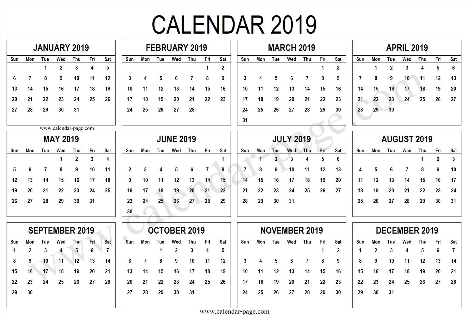 2019 January Calendar Template and 2019 Printable Calendar Pages